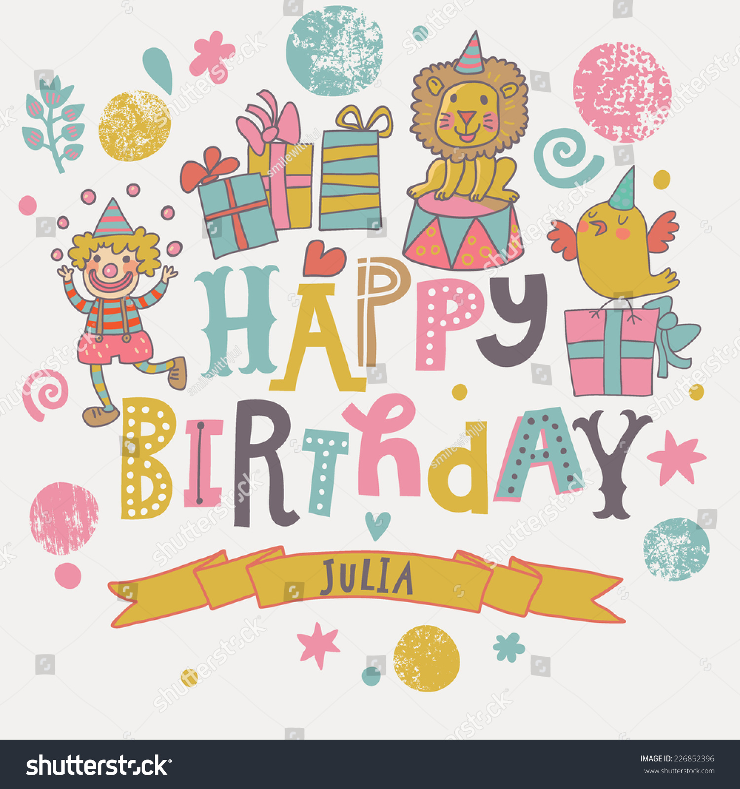 Funny Happy Birthday Card Cute Clown Lion Bird With Gifts In Vector