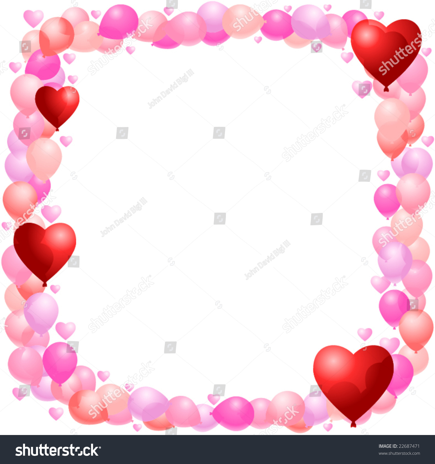 vector balloon frame hearts implied transparency のベクター画像素材