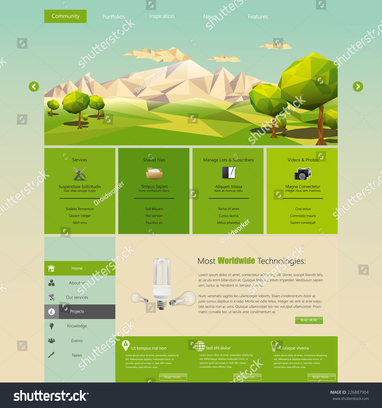 modern eco website template flat eco stock vector royalty free