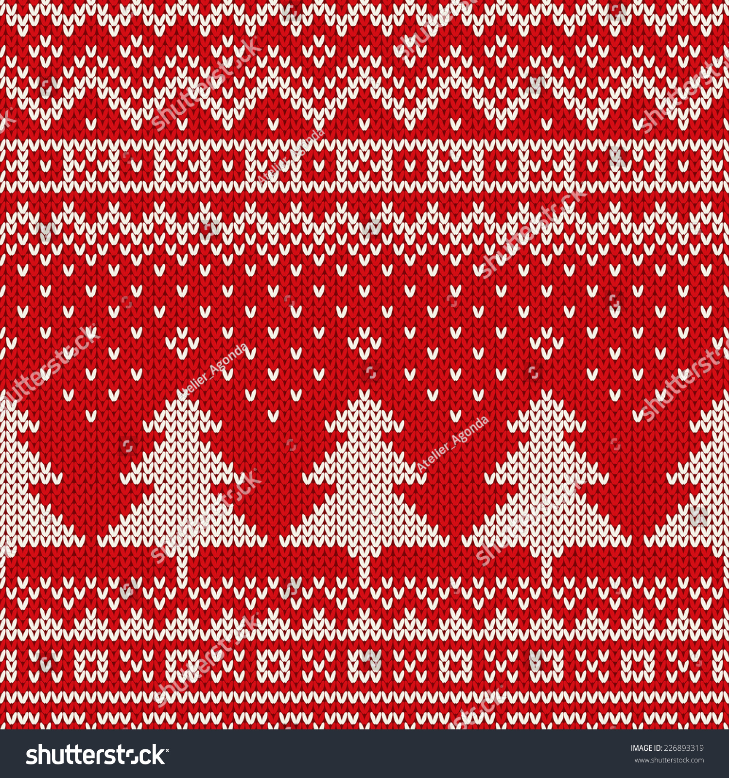 Christmas Knitting Background : Winter holiday pattern on wool knitted stock vector