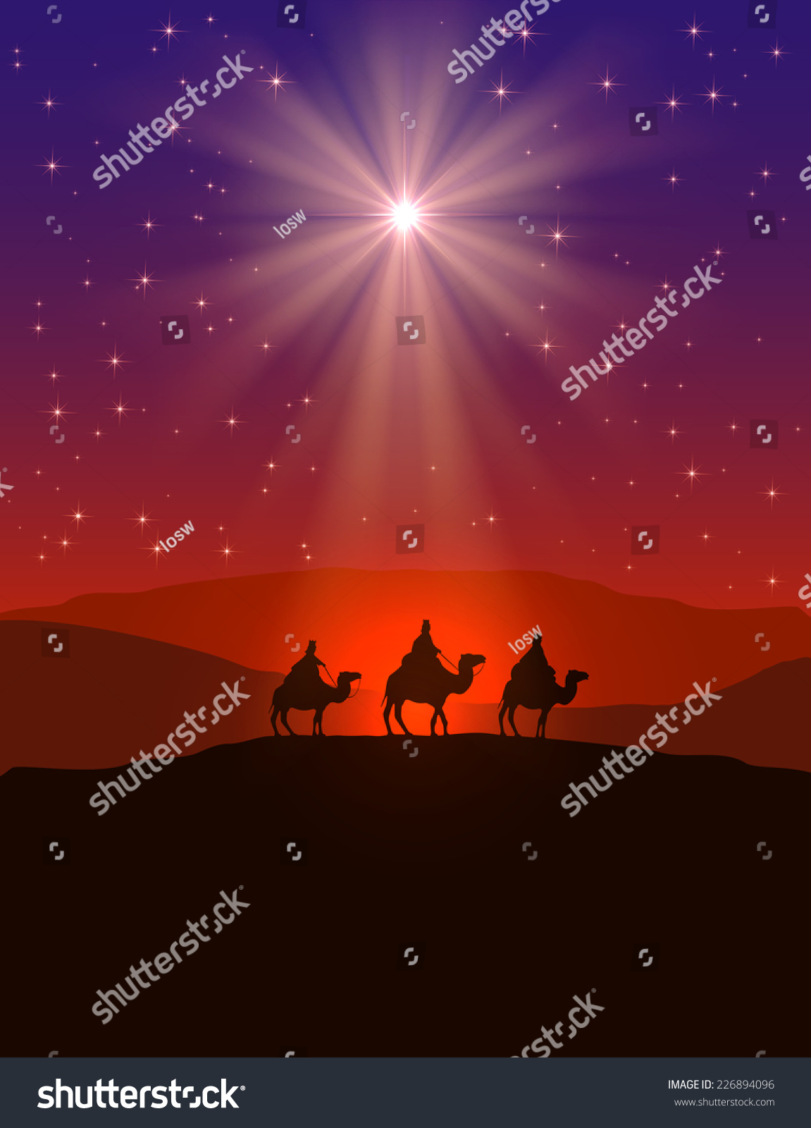 Christian Christmas Background With Shining Star On Night ...