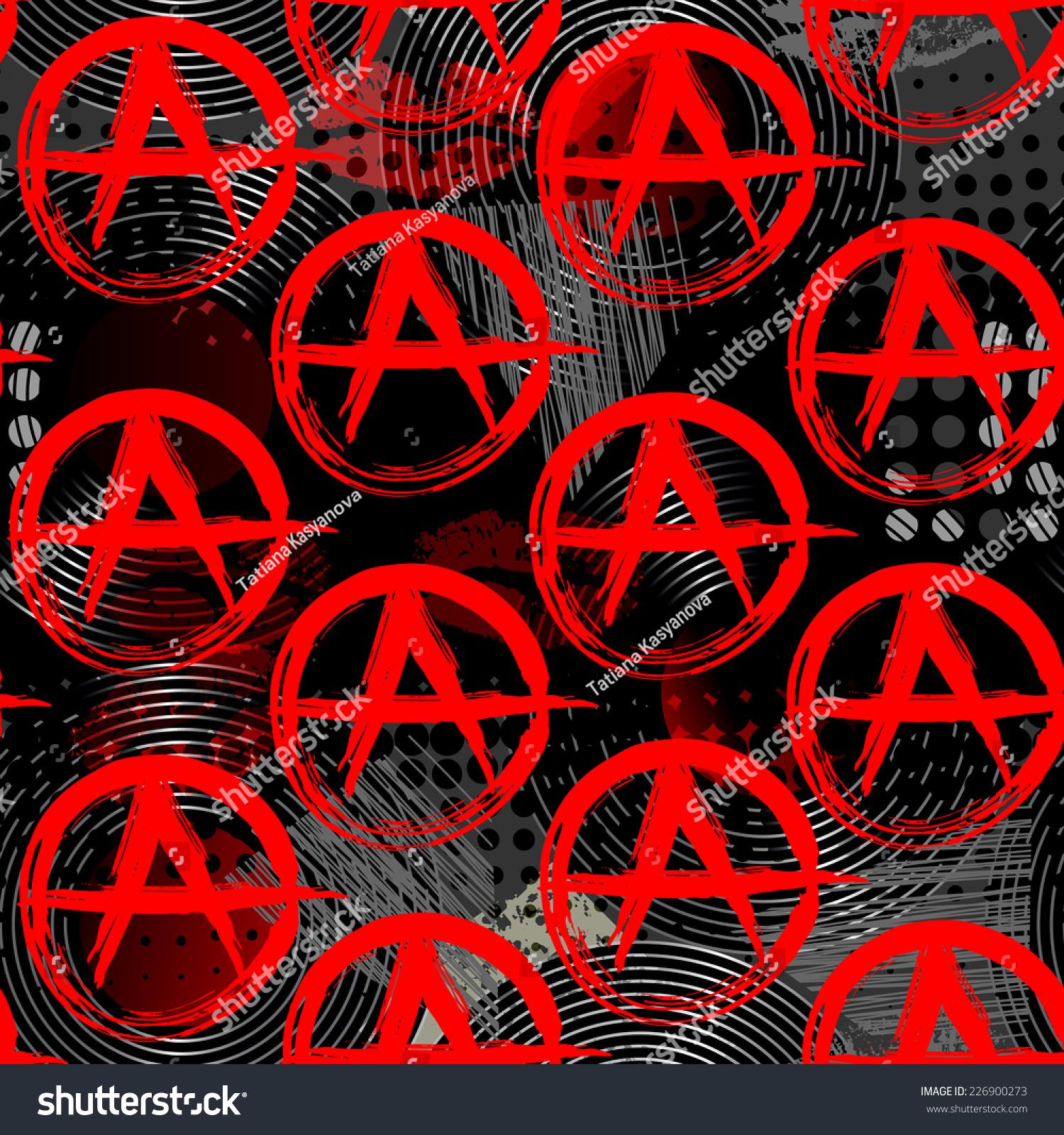 Seamless Background Pattern Symbols Anarchy Punk Stock Vector