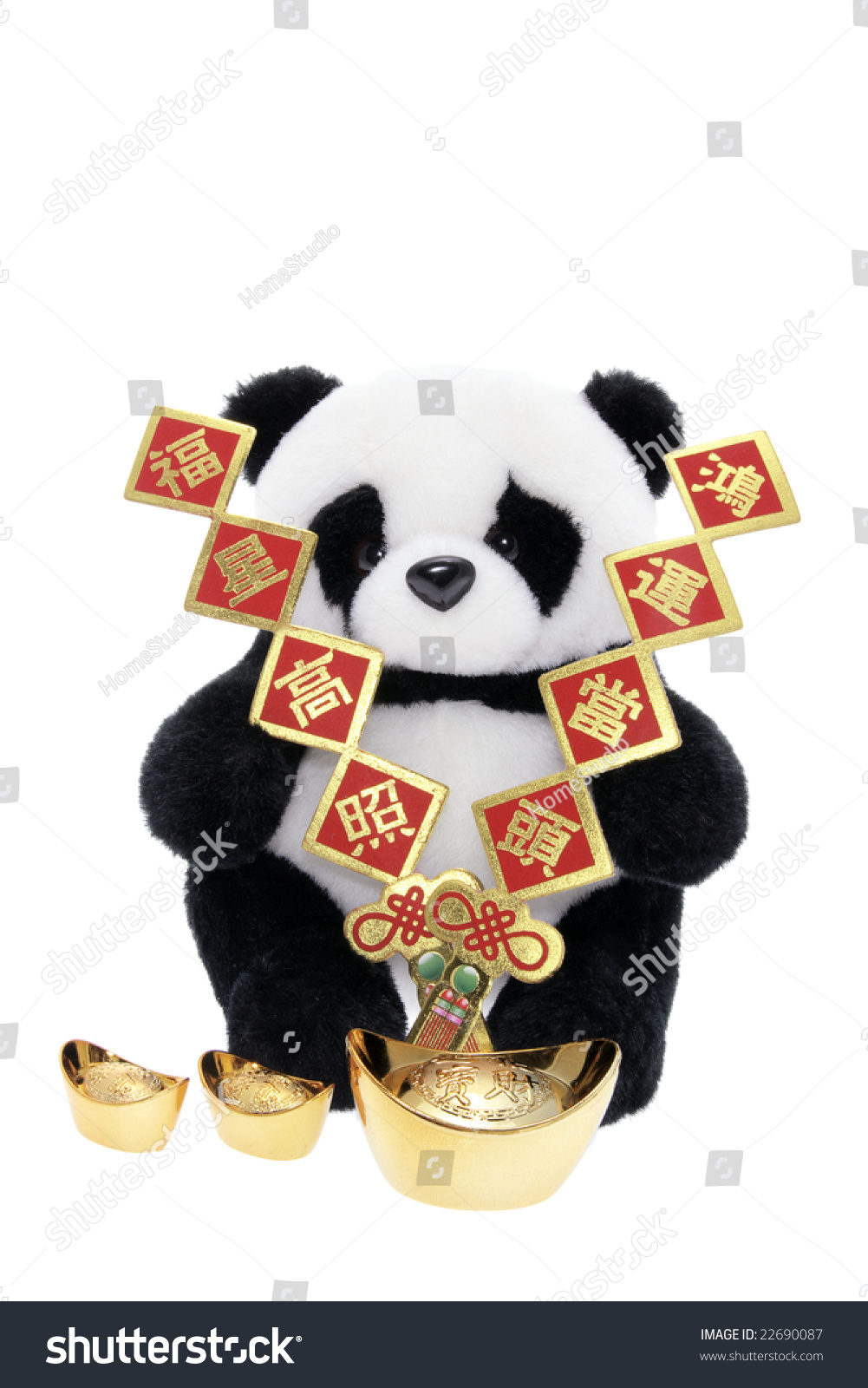 Toys For Chinese New Year : Soft toy panda with chinese new year decorations on white