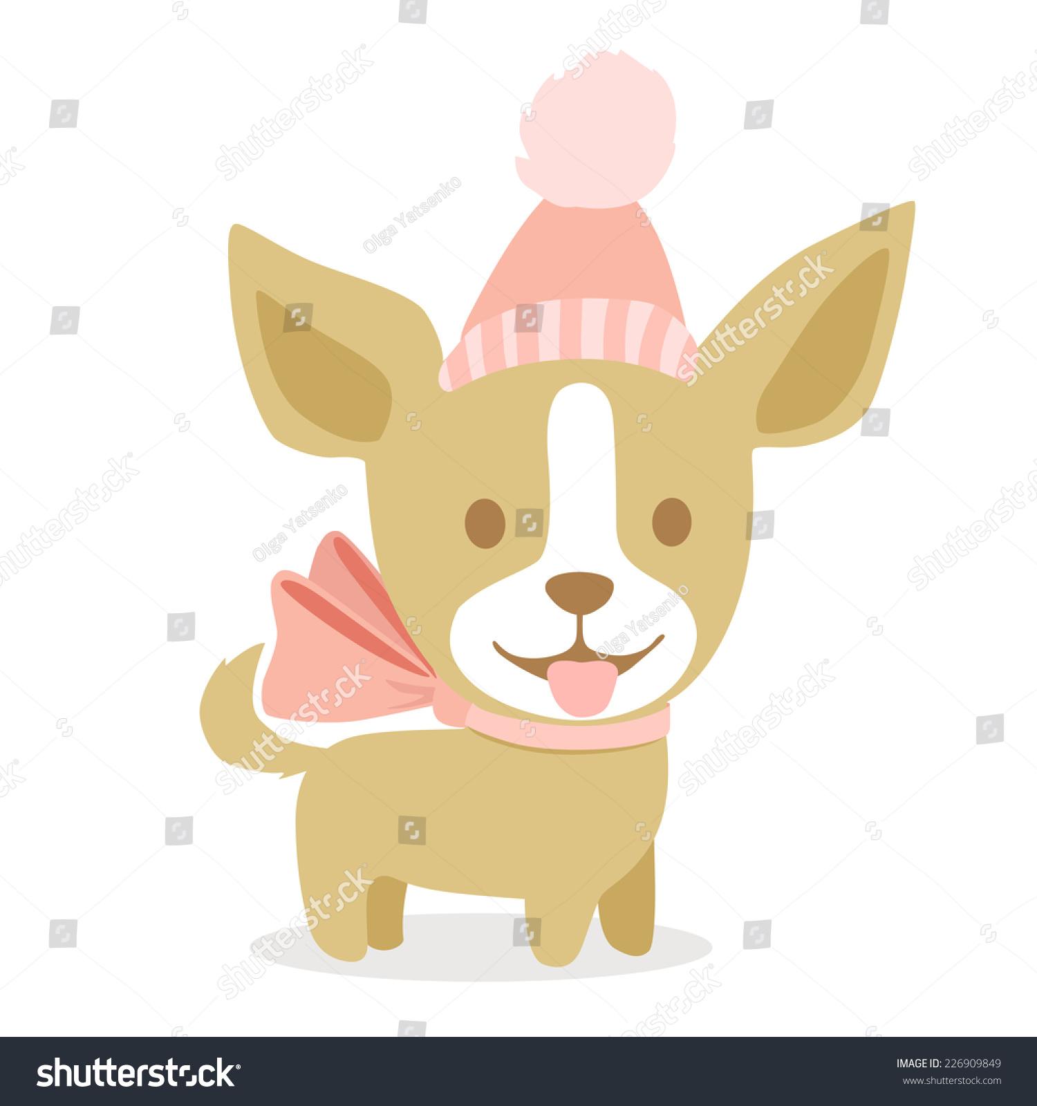 Vector Cute Drawing Dog Chihuahua Winter Stock Vector Royalty Free