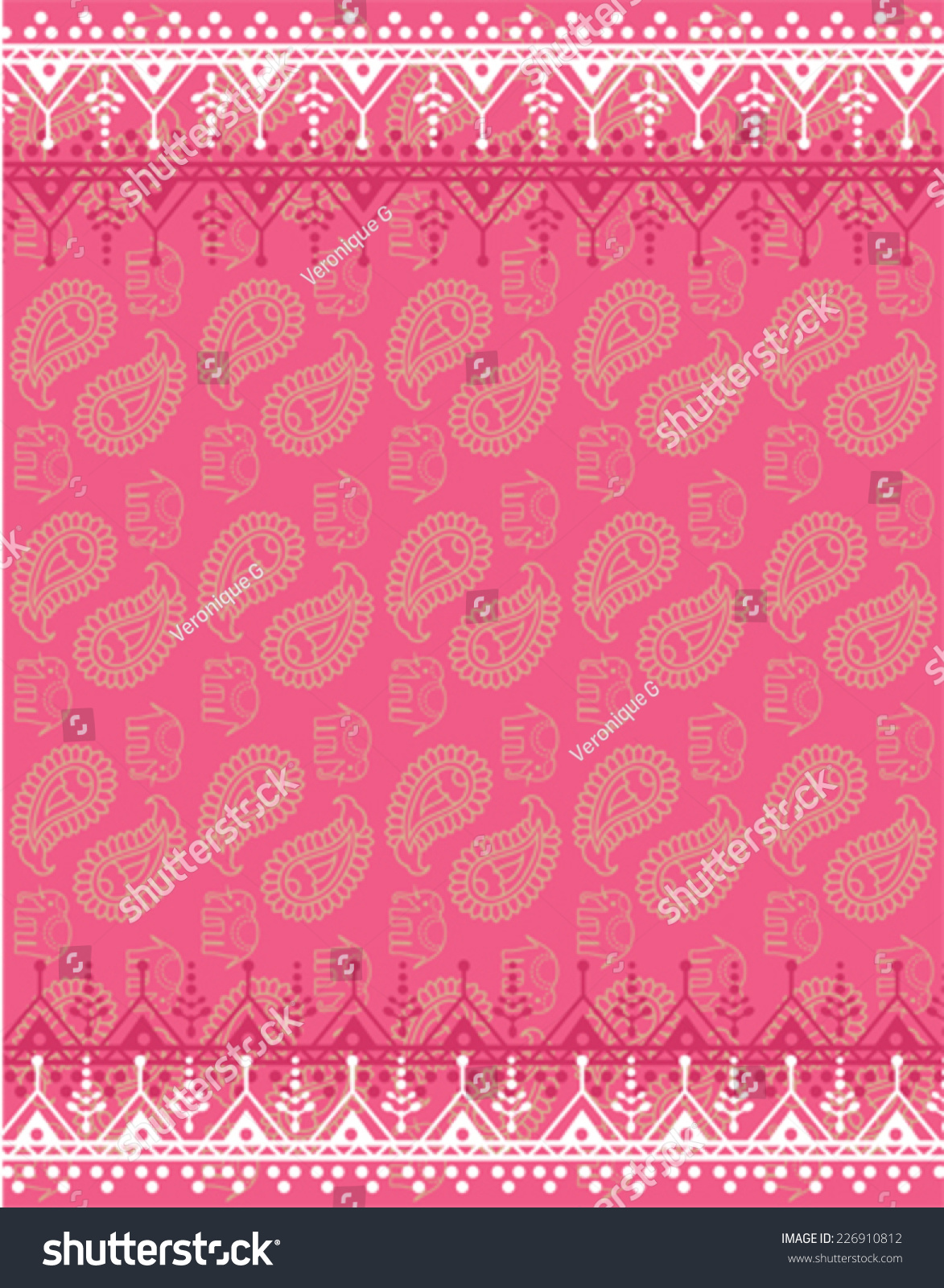Pink Oriental Traditional Henna Paisley Elephant Stock Vector
