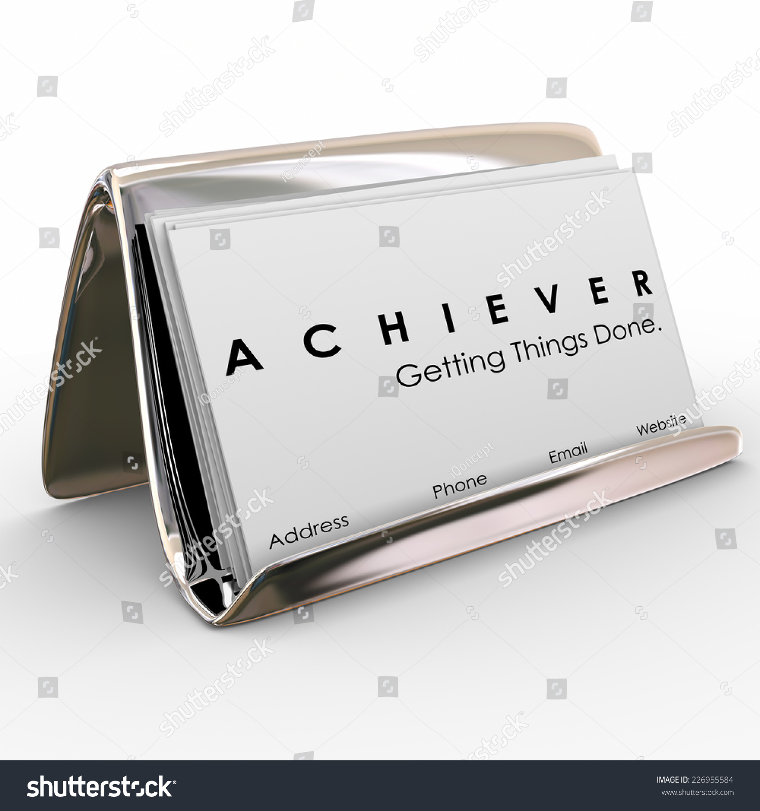 Achiever Word Business Cards Holder Stock Illustration