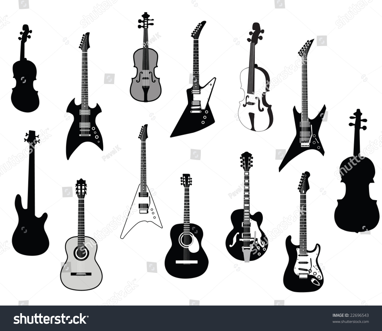 big set of different kind of guitars silhouettes acoustic and electrical guitars in different. Black Bedroom Furniture Sets. Home Design Ideas