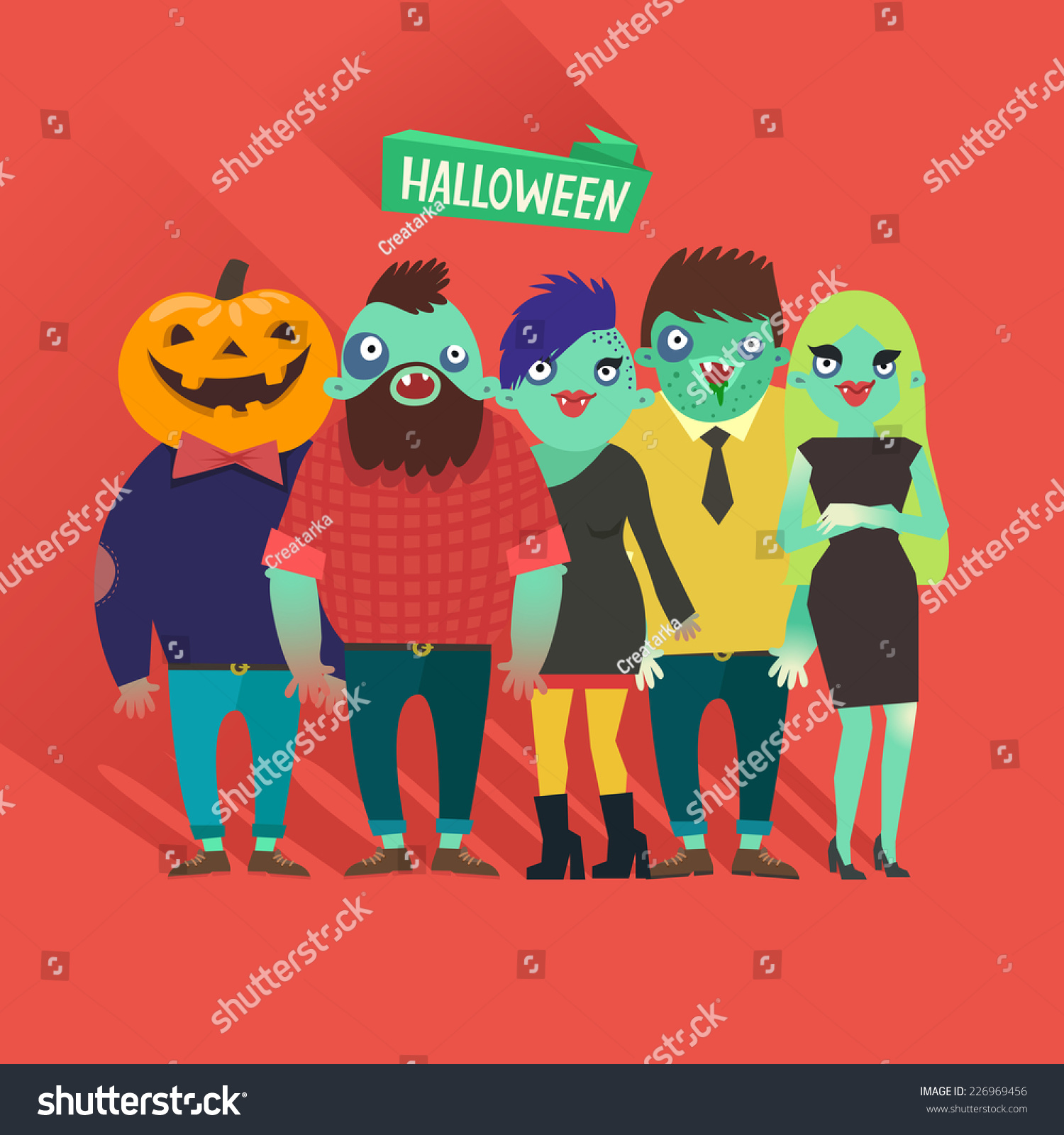 Fashion Zombies Crowd Hipster Girls Boys Stock Vector 226969456 ...