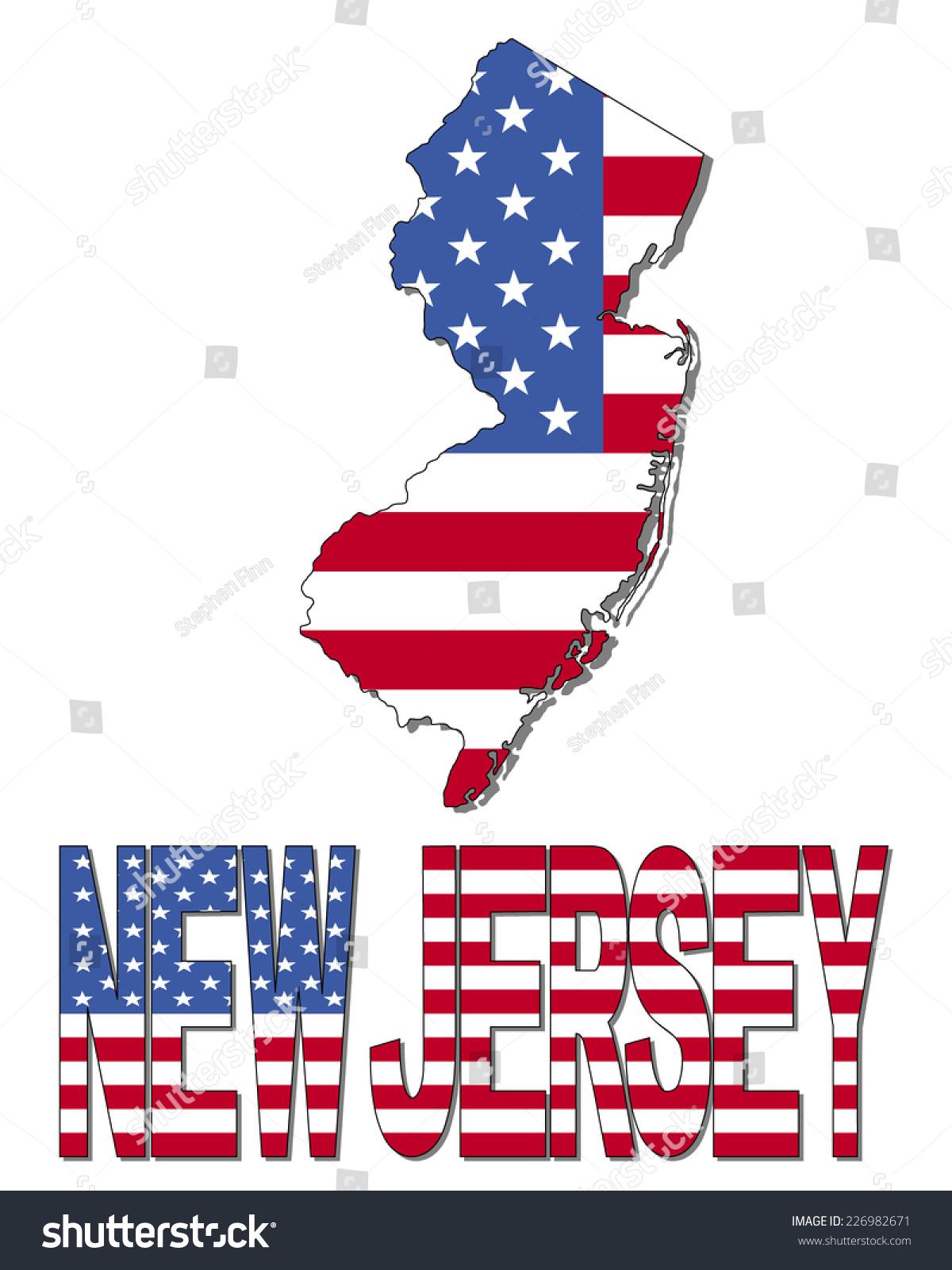 New Jersey Map Flag Text Vector Stock Vector Shutterstock - Newjerseymap