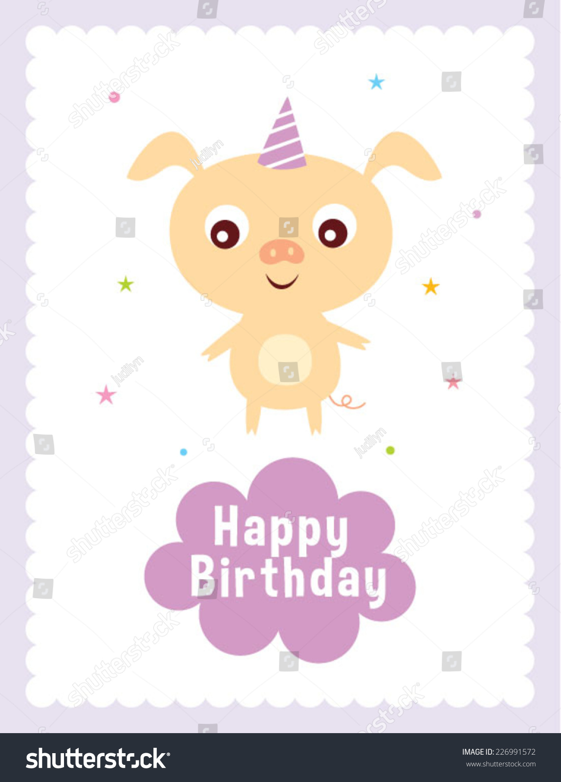 cute little pig happy birthday greeting stock vector 226991572