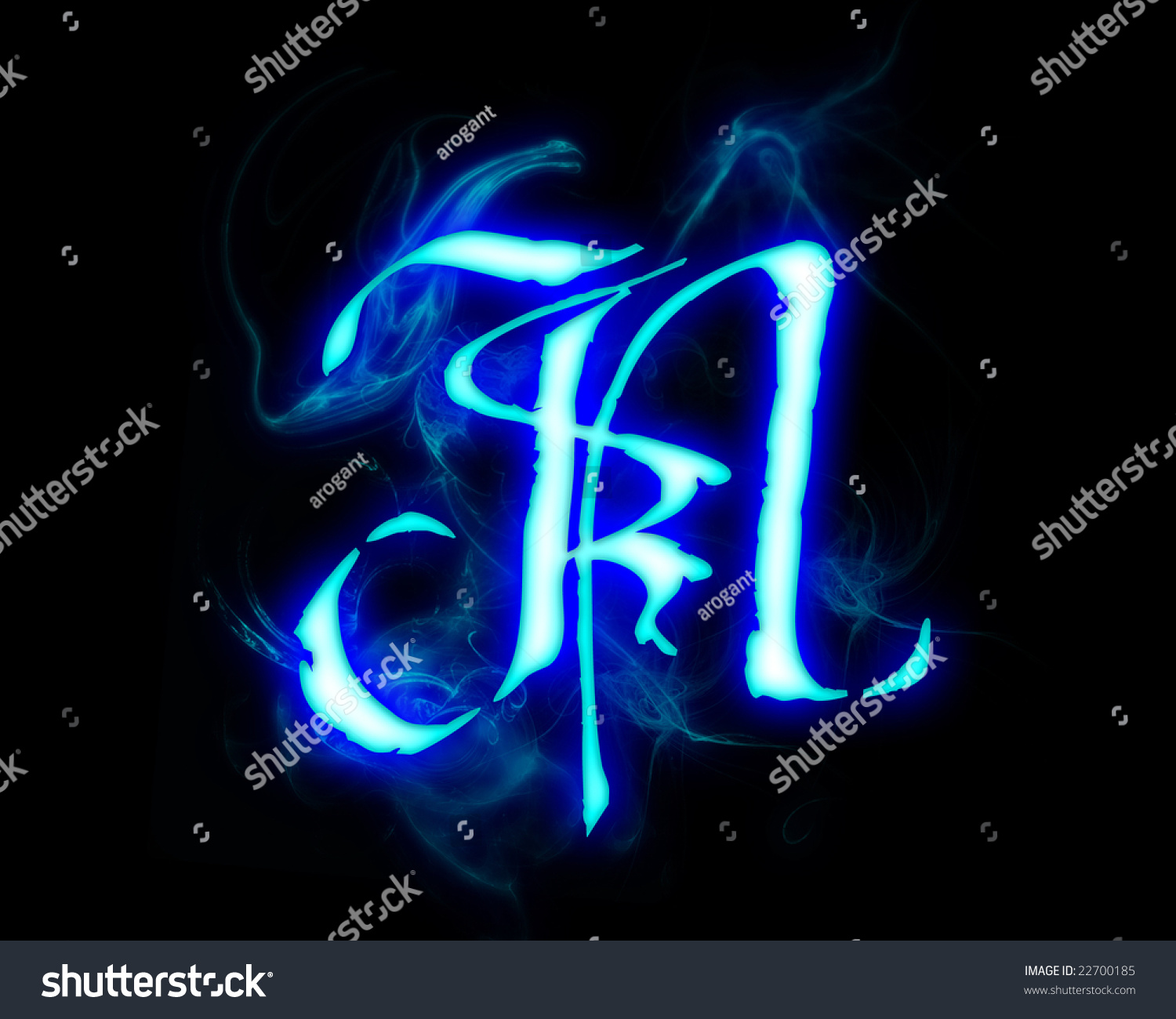 Blue Flame Magic Font Over Black Stock Ilustrace 22700185 ...
