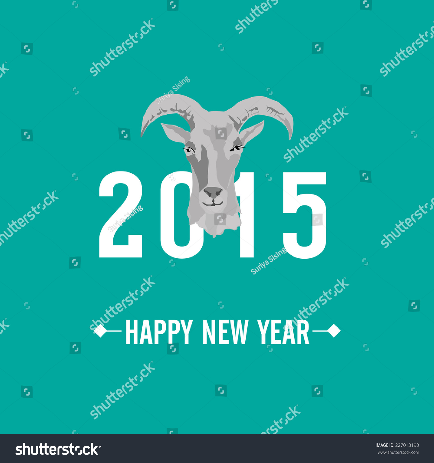 2015 New Year Card Goat Vector Stock Vector 227013190 Shutterstock