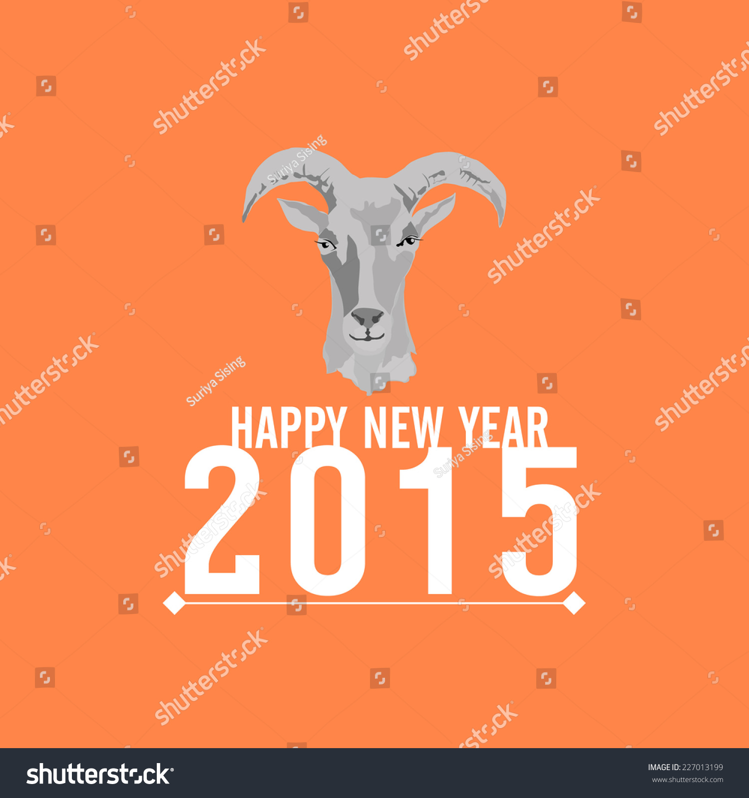 2015 New Year Card Goat Vector Stock Vector 227013199 Shutterstock