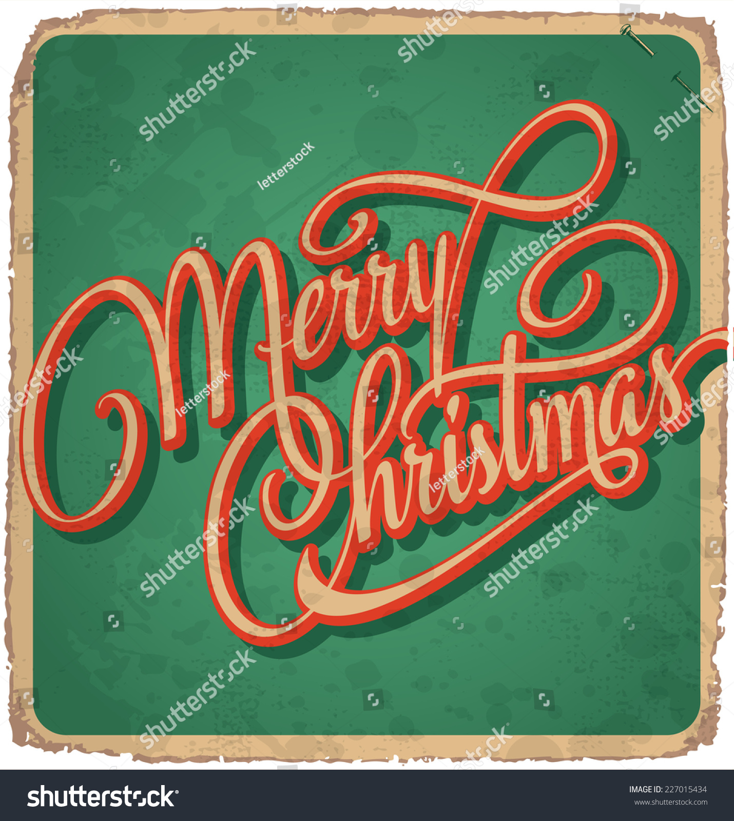 Merry christmas hand lettering vintage card stock vector