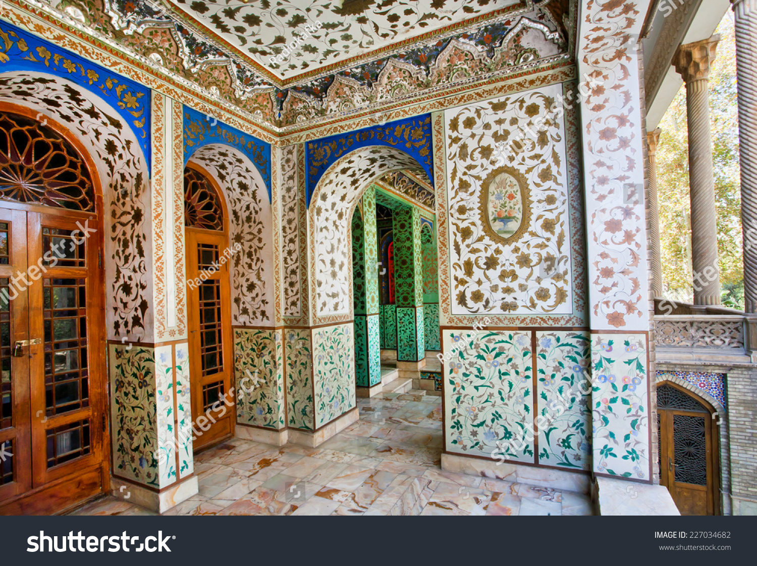 Traditional Persian design of the palace Golestan with painted walls tiles and wooden doors & Traditional Persian Design Palace Golestan Painted Stock Photo ... pezcame.com