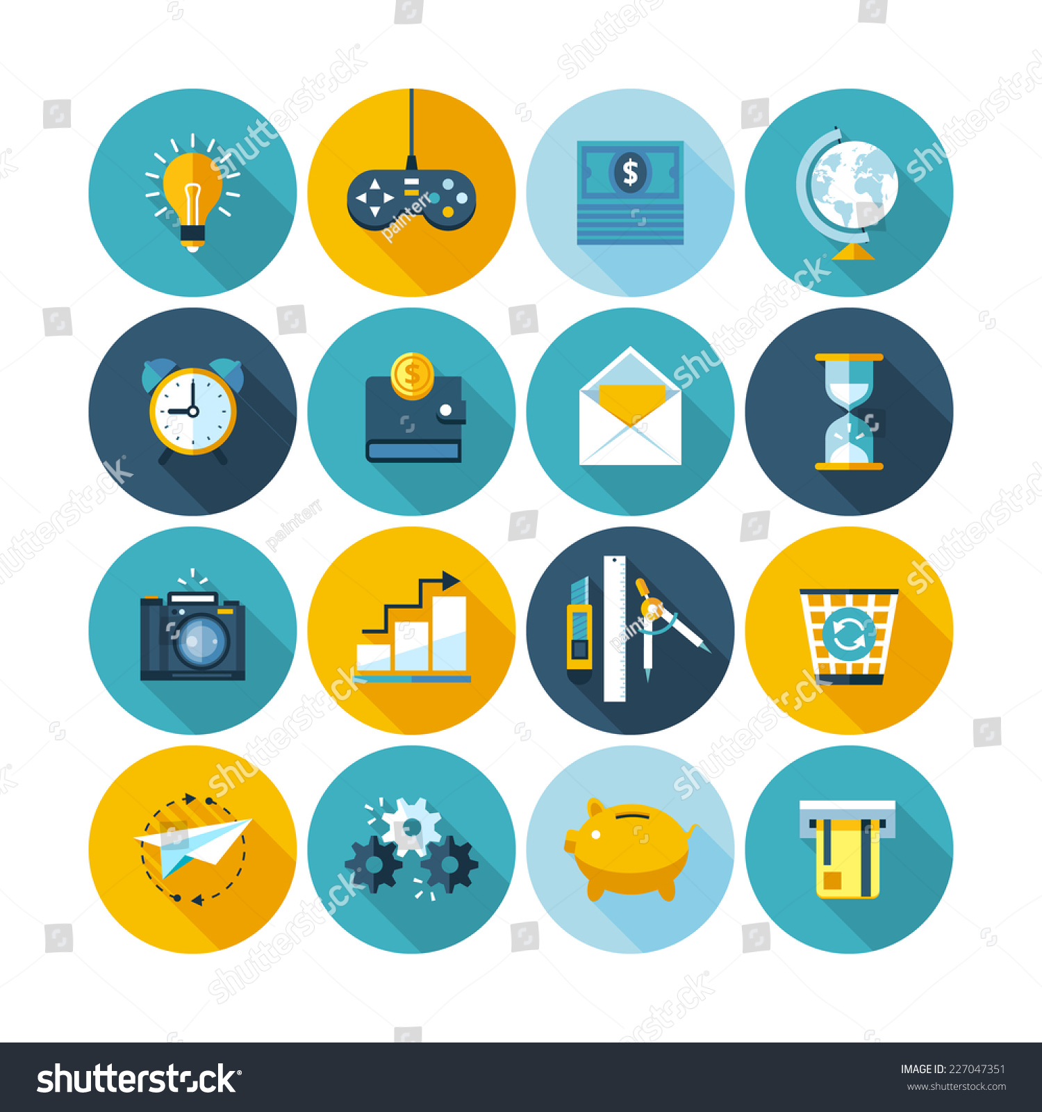 Modern colors web design - Modern Flat Circle Icons Vector Collection With Long Shadow Effect In Stylish Colors Of Web Design