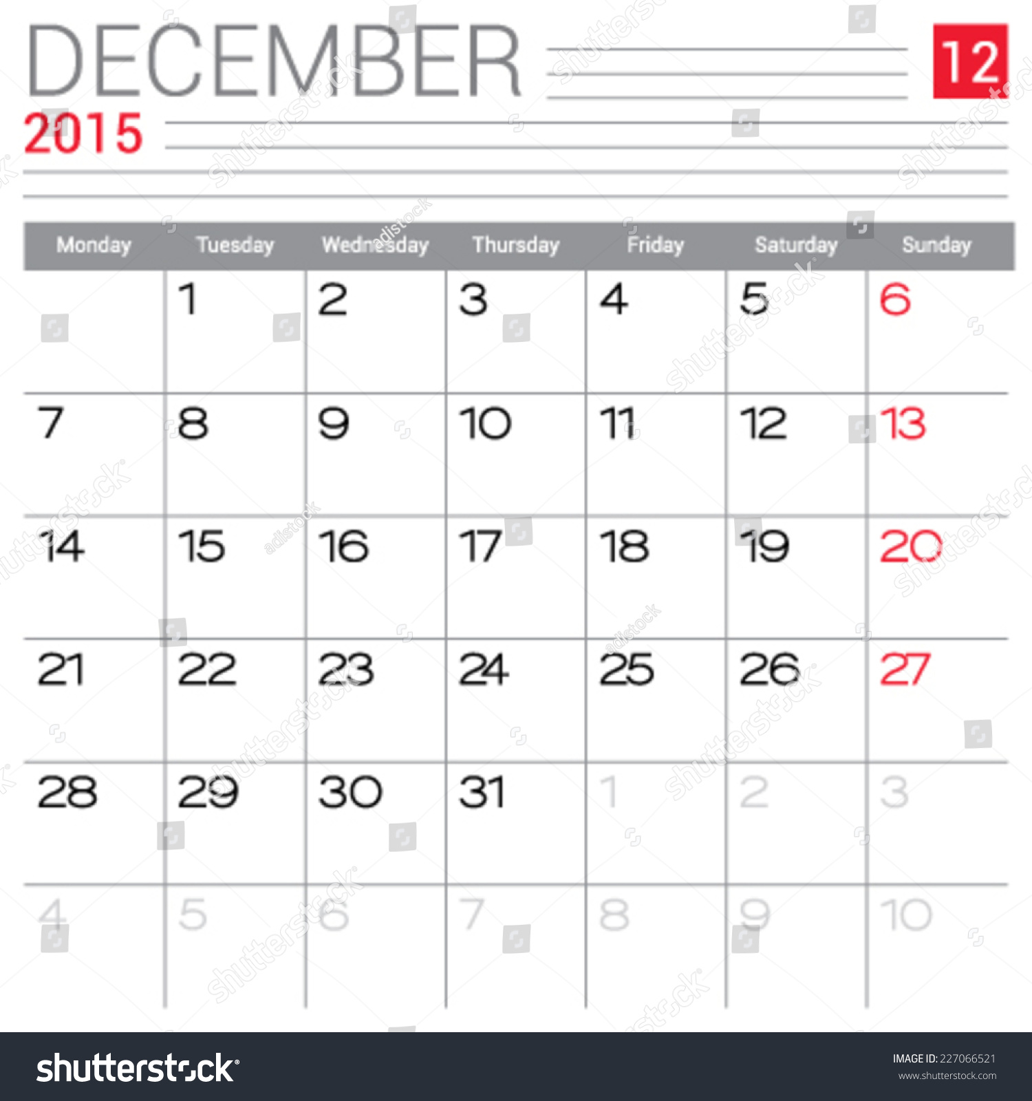 Weekly Calendar Vector : December calendar vector design template simple