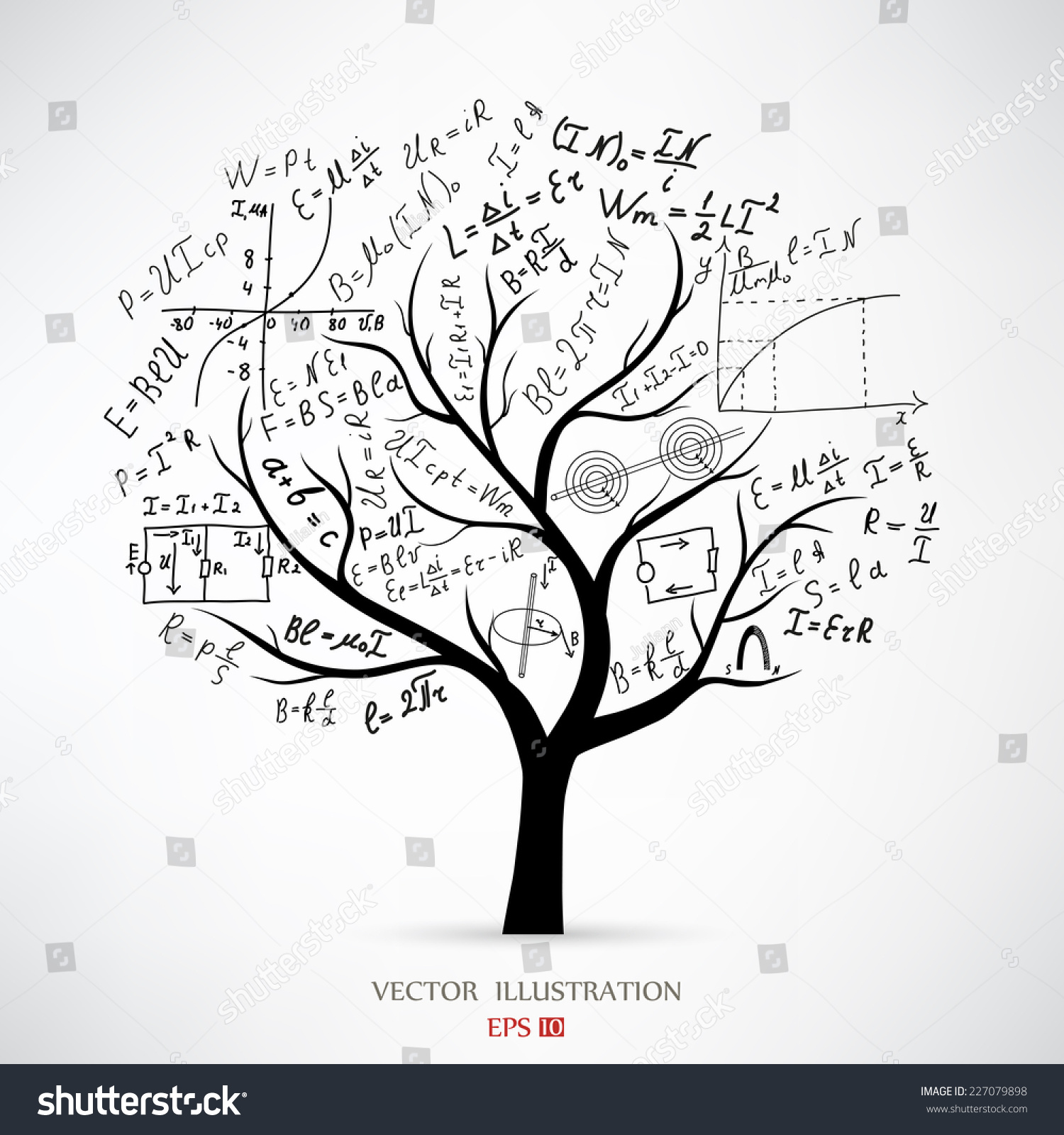 Mathematical equations formulas on tree concept stock for How to calculate board feet in a tree