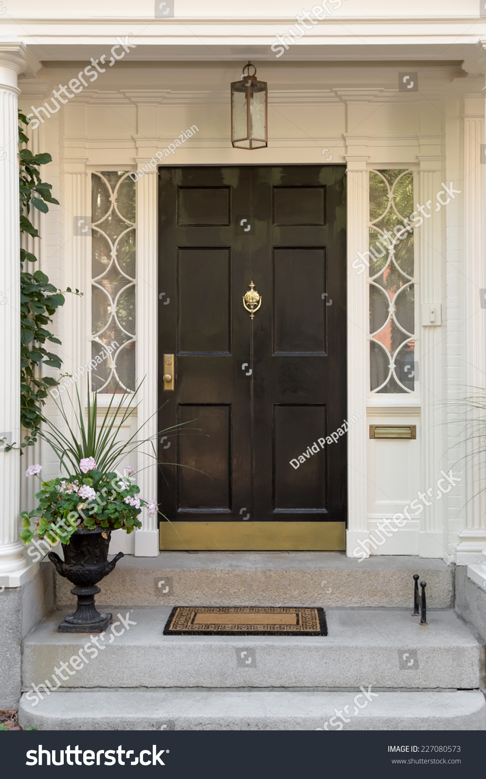 Black front door with white door frame and side windows for Front door and frame