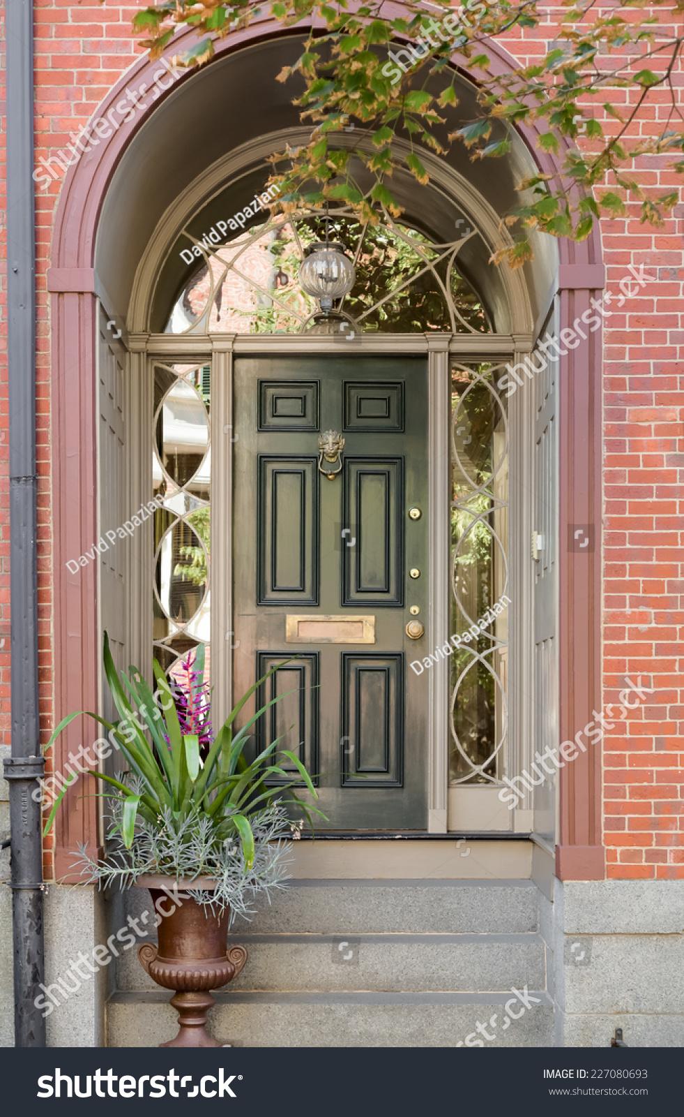 Green Front Door Under Brick Arch Stock Photo Edit Now 227080693