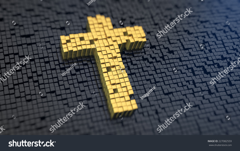 Cross symbol yellow square pixels on stock illustration 227082559 cross symbol of the yellow square pixels on a black matrix background christianity concept biocorpaavc