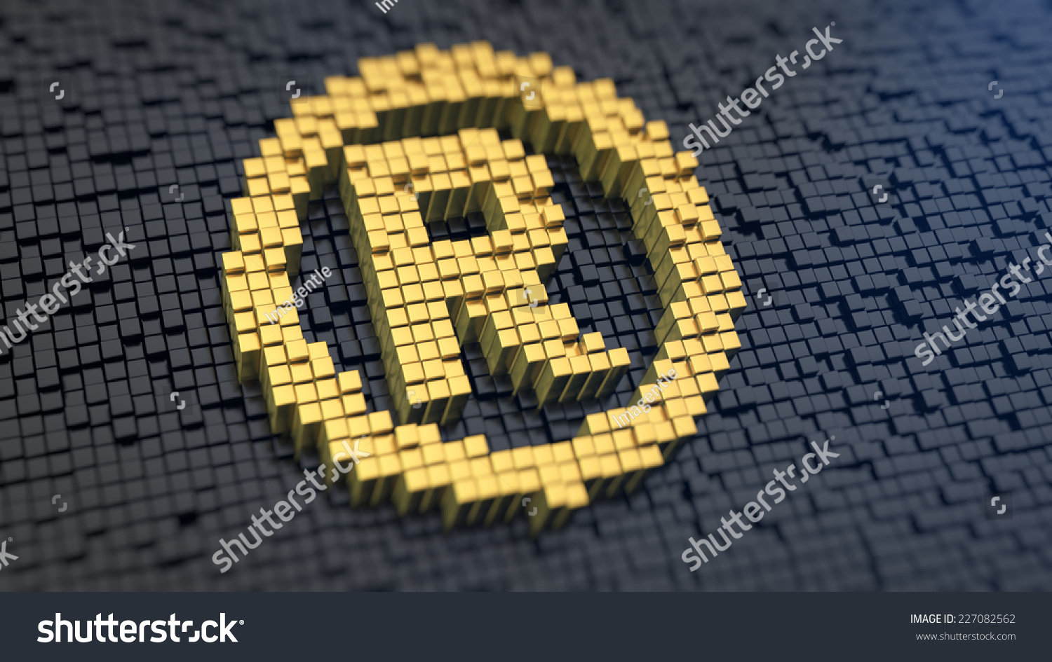 Registered Symbol Yellow Square Pixels On Stock Illustration