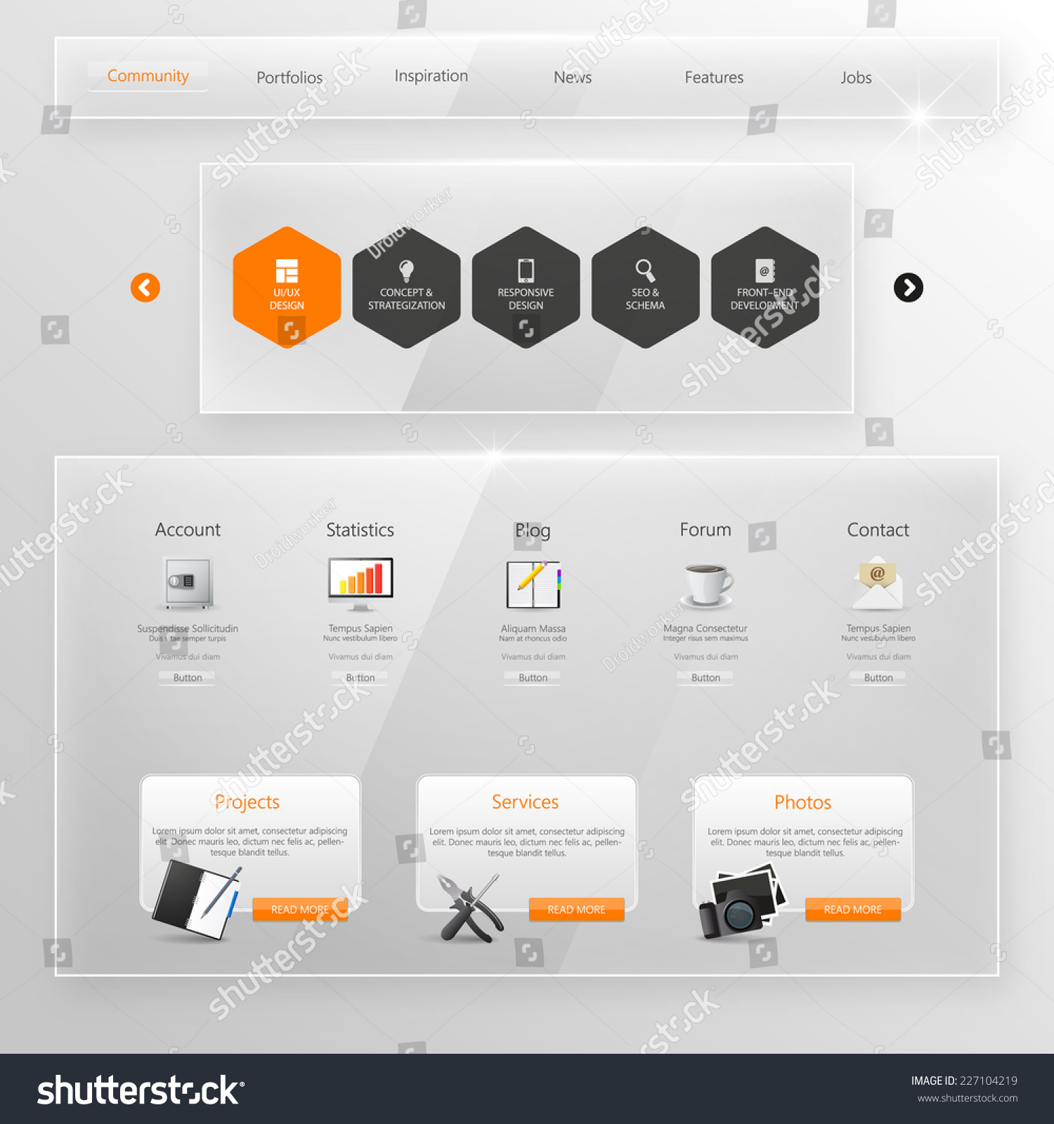 Website Template Glass Transparent Minimalistic Design Stock Vector
