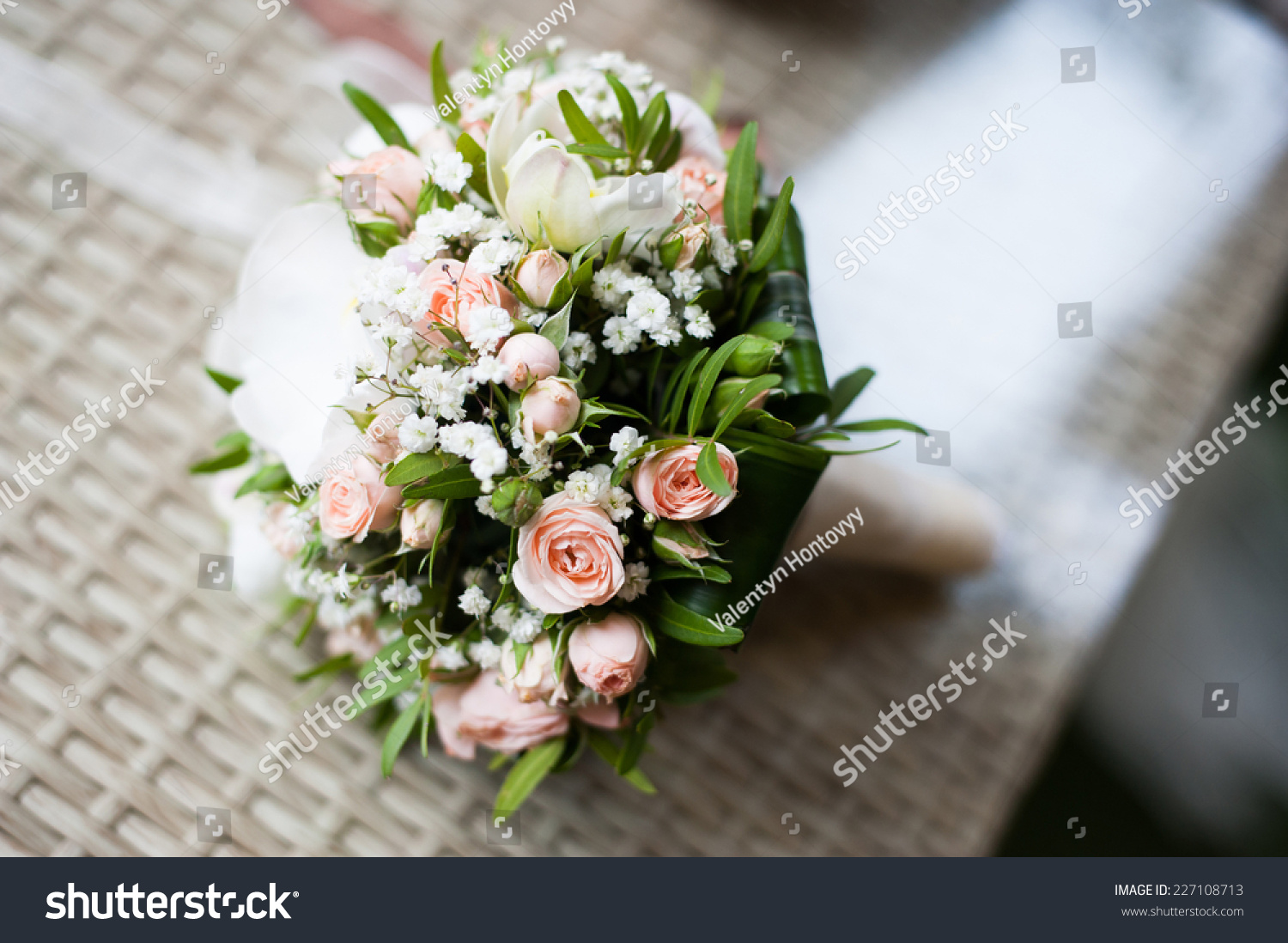 Beautiful Pink Green White Wedding Bouquet Stock Photo Royalty Free