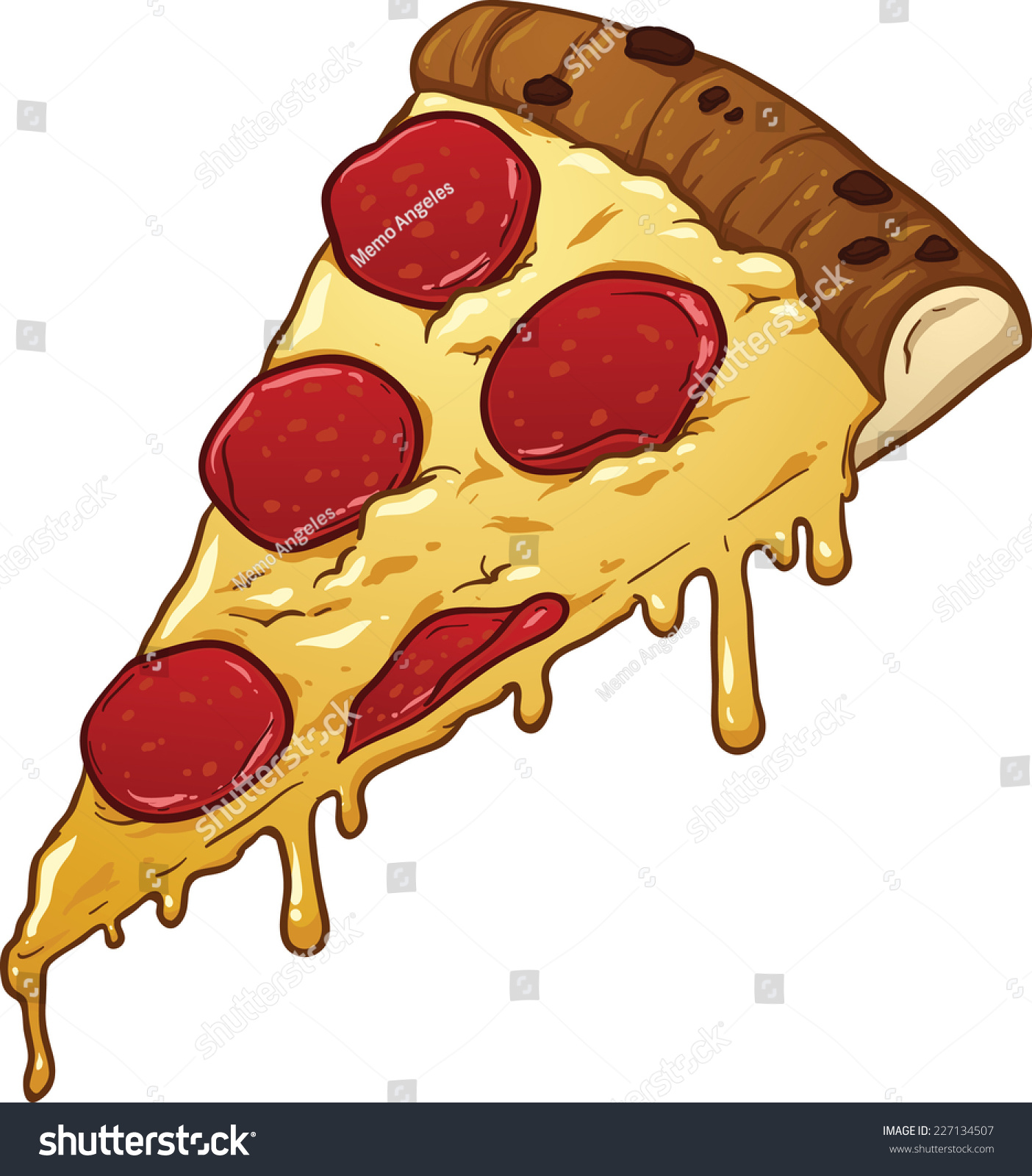 Salami pizza slice. Vector clip art illustration with simple gradients ...