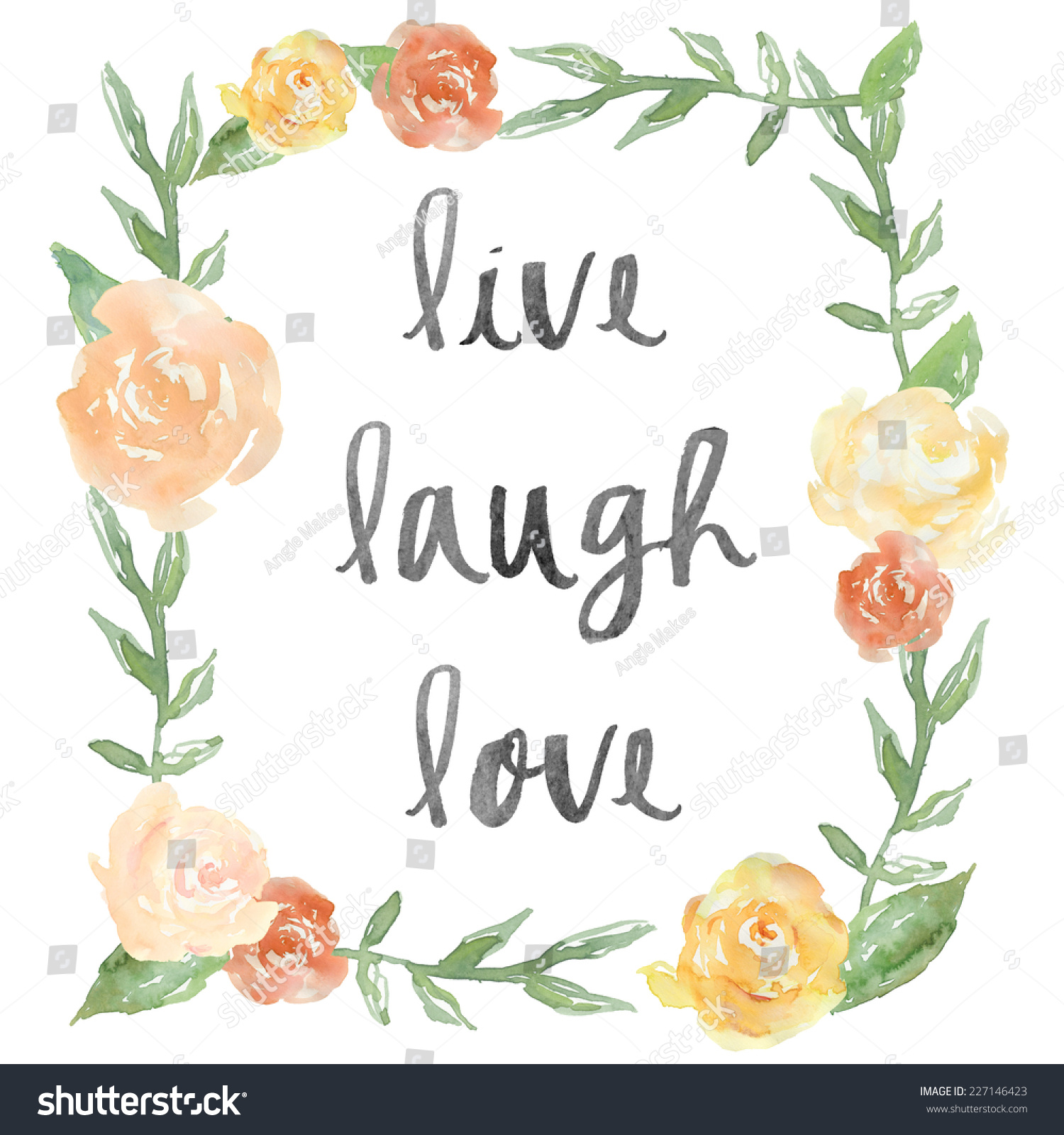 Live Laugh Love Quote Live Laugh Love Quote Watercolor Peony Stock Illustration