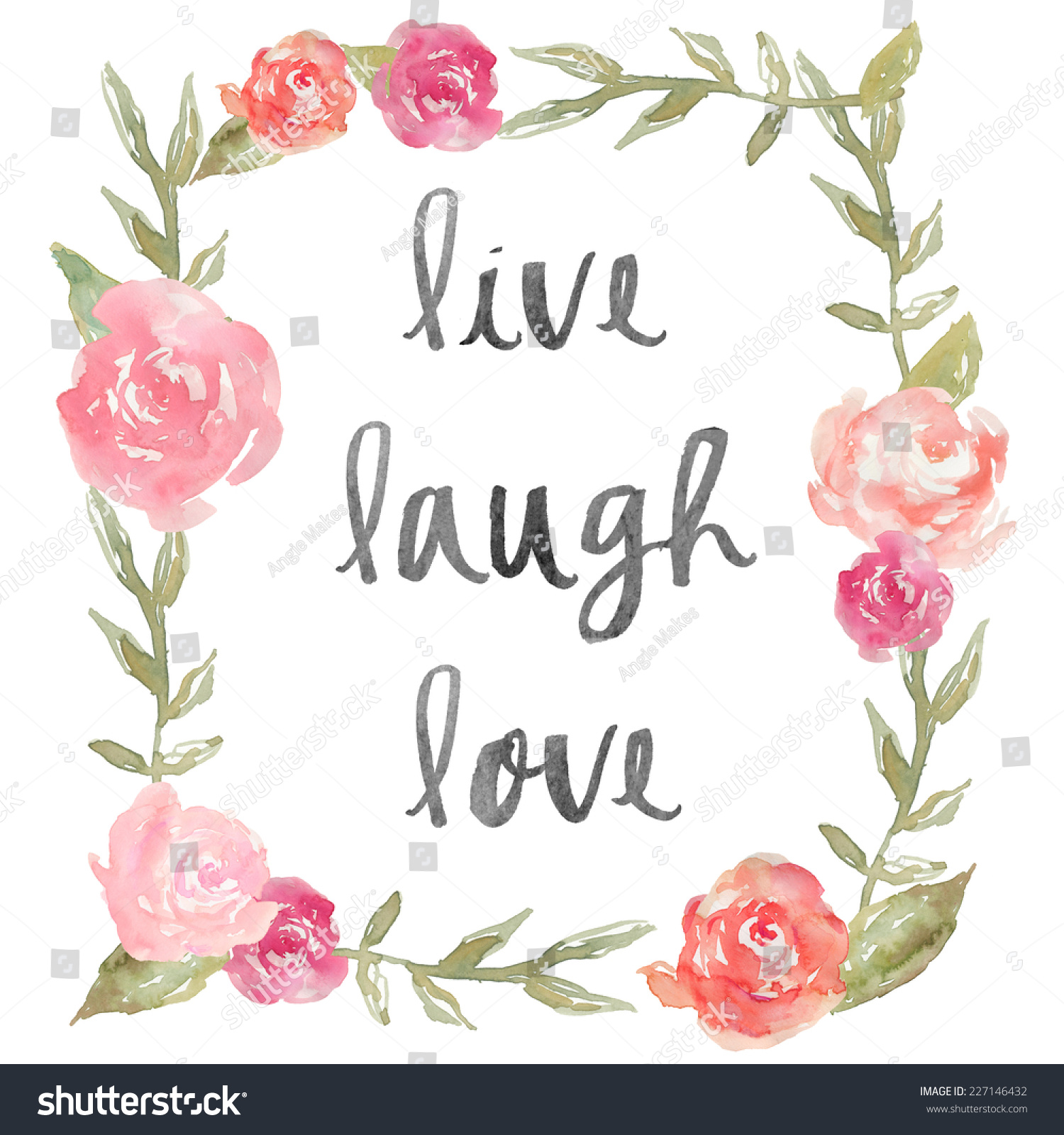 Live Laugh Love Quote Watercolor Peony Stock Illustration