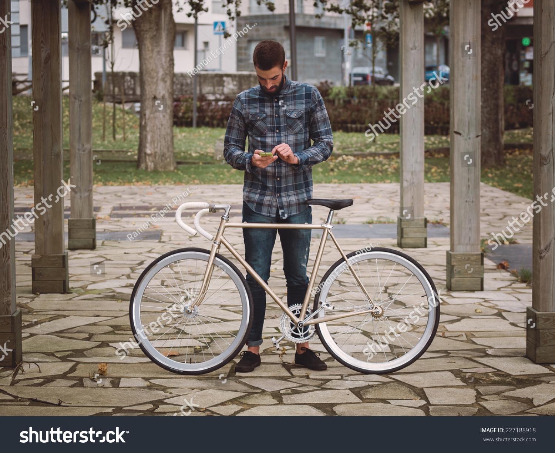 Hipster Man Fixie Bike Smartphone Park Stock Photo 227188918