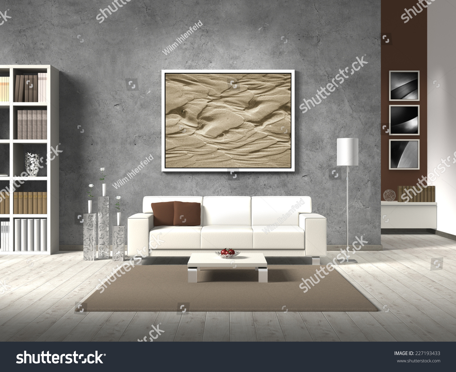 Modern 3D Living Room Rendering With White Sofa And Copy Space For Your Own  Image/ Part 90