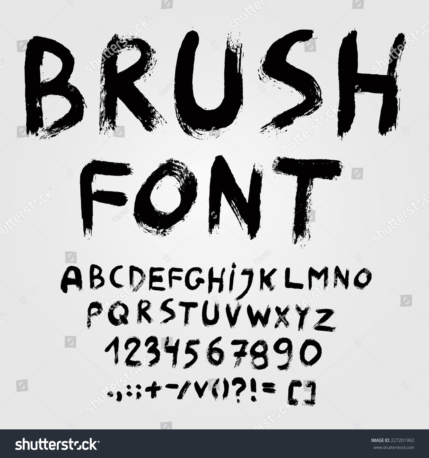 Hand Drawn Brush Font Alphabet Vector Stock Vector 227201992 ...