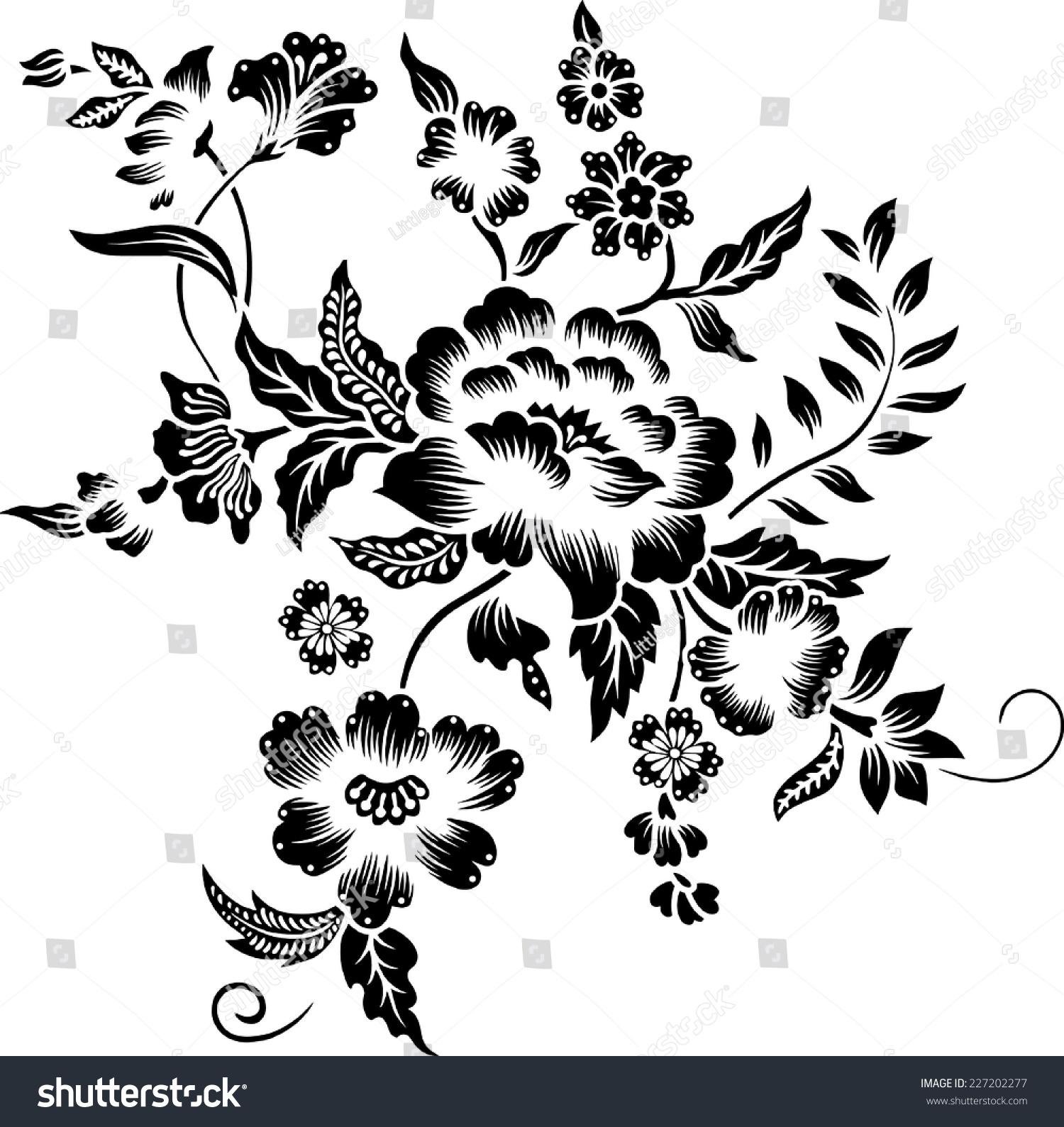 Batik.Line Of A Bouquet. Stock Vector Illustration
