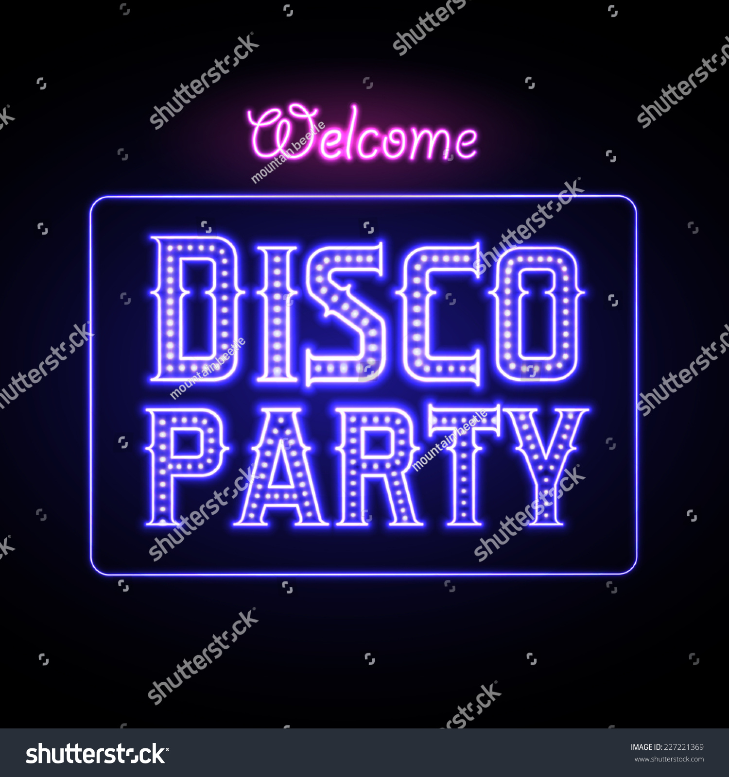 Neon sign disco party night club stock vector 227221369 for Disco night club