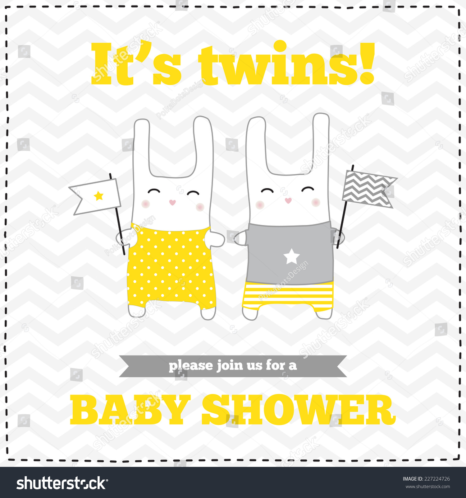 Baby shower invitation template gray yellow stock photo photo baby shower invitation template gray yellow white colors illustration of twins stopboris Image collections