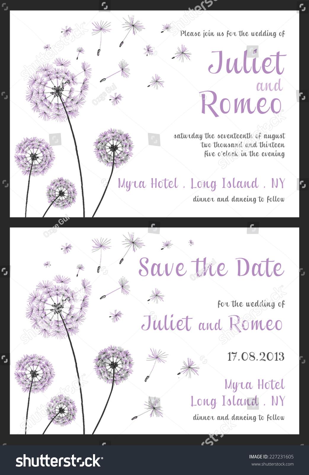Set Floral Wedding Invitation Template Purple Stock Vector HD ...