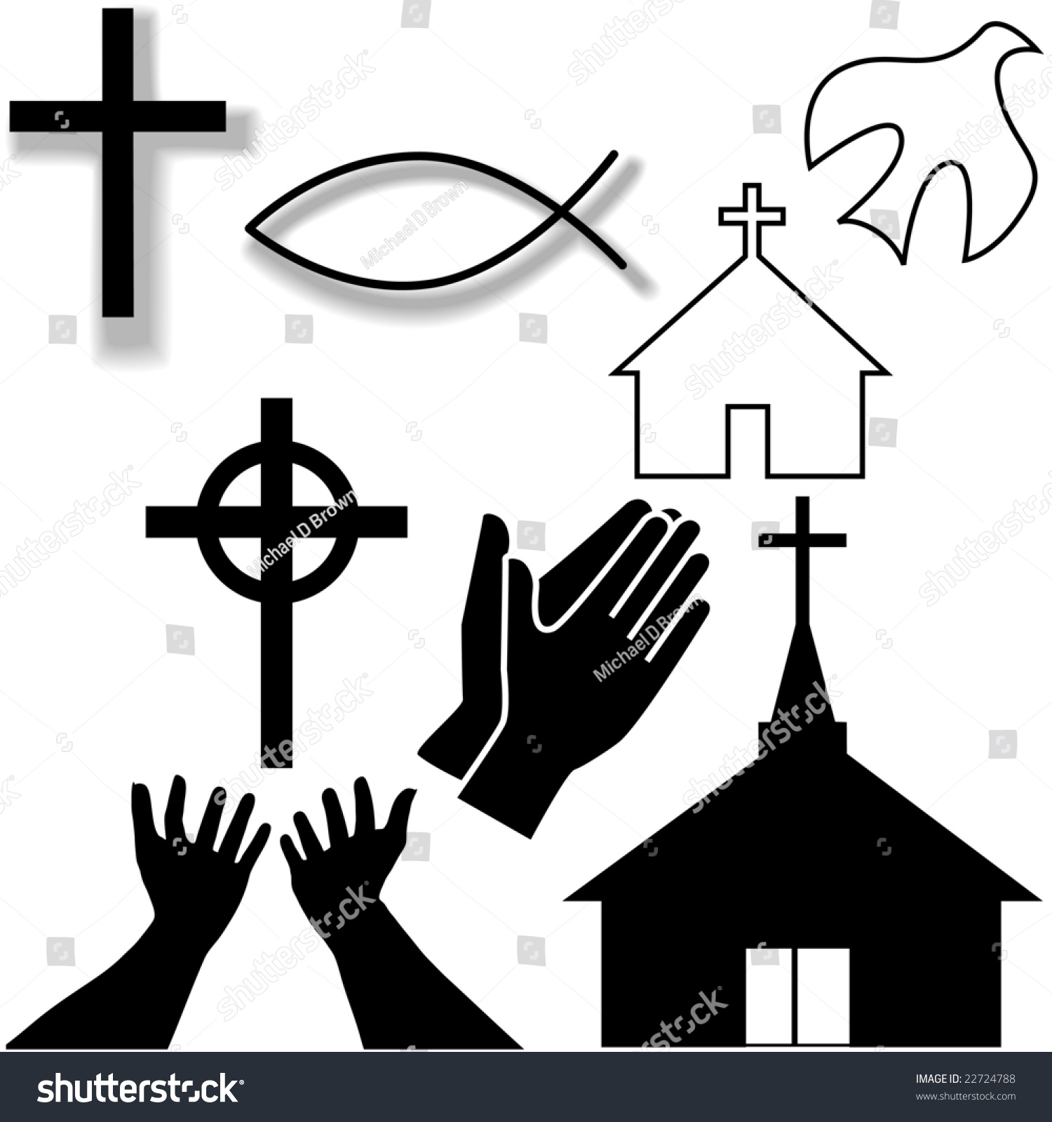 Churches crosses holy spirit dove fish stock vector 22724788 churches crosses holy spirit dove fish symbol hands praying and in supplication biocorpaavc