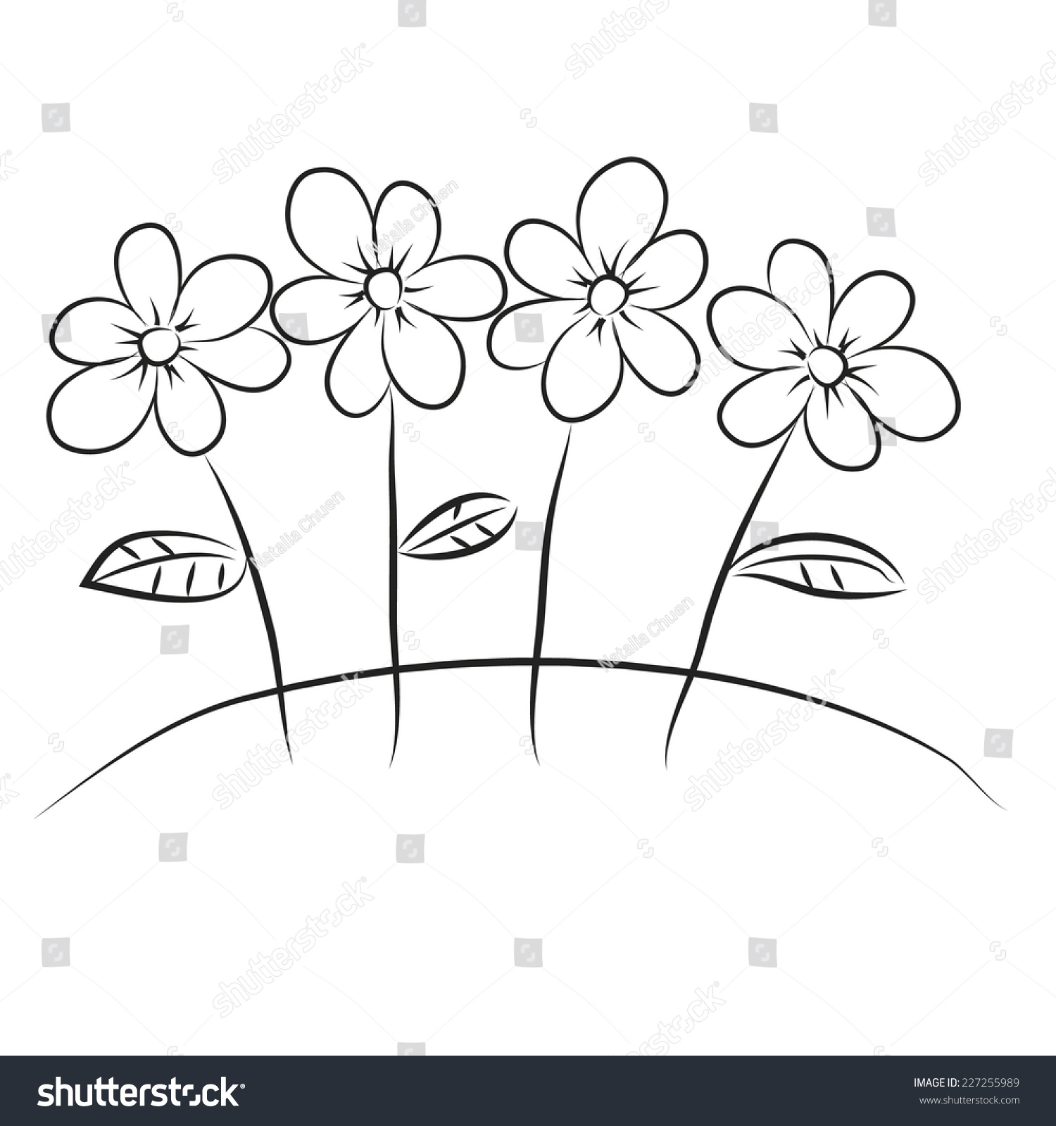 Black White Cartoon Flowers Vector Sketch Stock Vector Royalty Free
