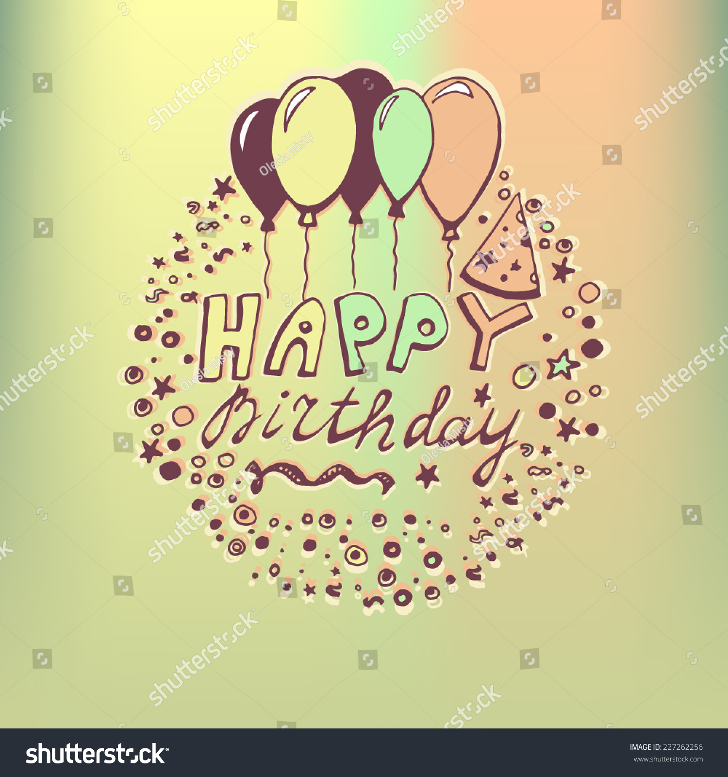 Hand Drawn Doodle Birthday Card Colorful Vector 227262256 – Doodle Birthday Card