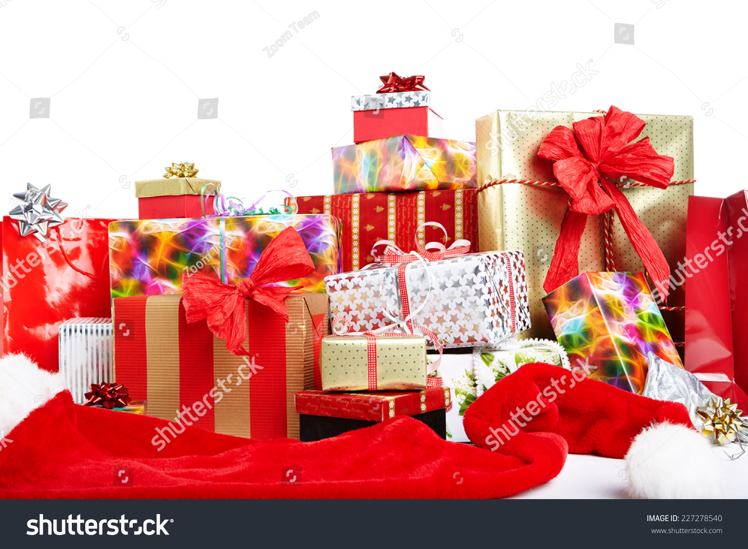 Pile Christmas Gifts Colorful Wrapping Ribbons Stock Photo (Edit Now ...