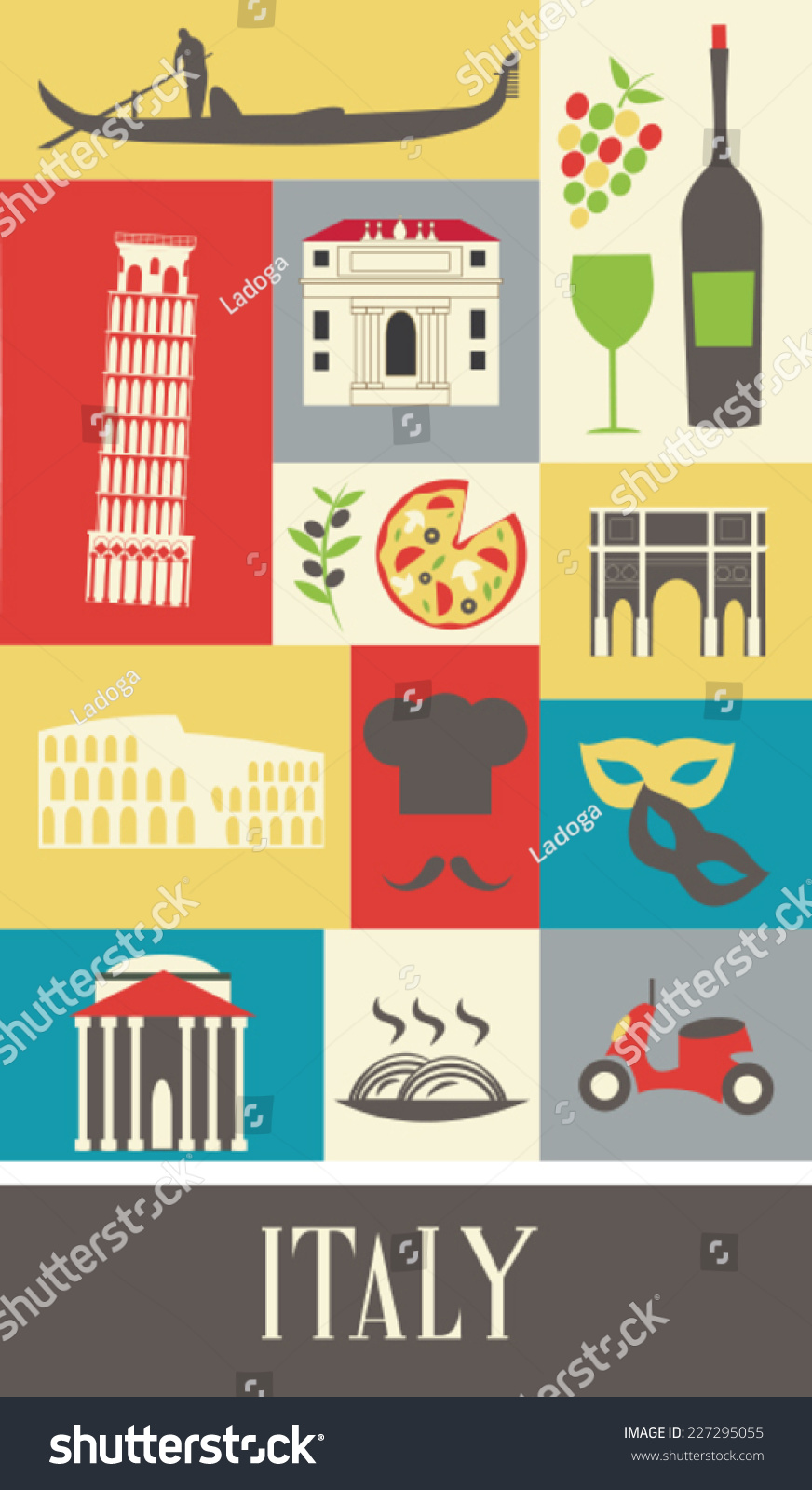 Symbols Italy Vector Stock Vector Royalty Free 227295055