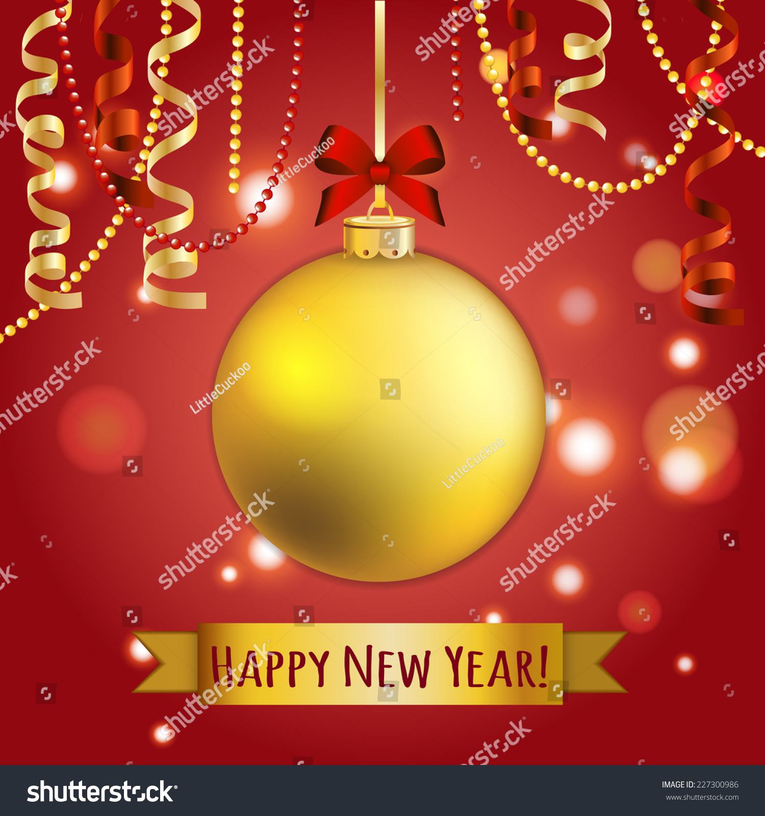 New year greeting card christmas ball stock vector 227300986 new year greeting card christmas ball with bow and ribbon xmas decorations sparkles kristyandbryce Images