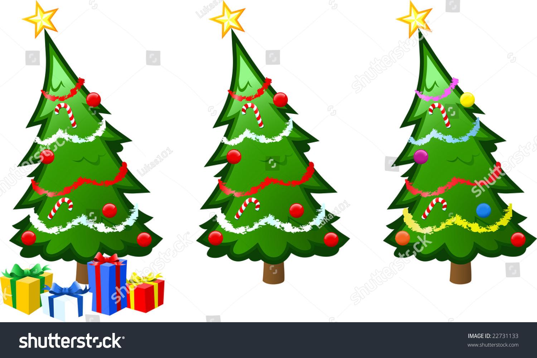 Vector Illustration Christmas Tree Baubles Tinsel Stock Vector ...