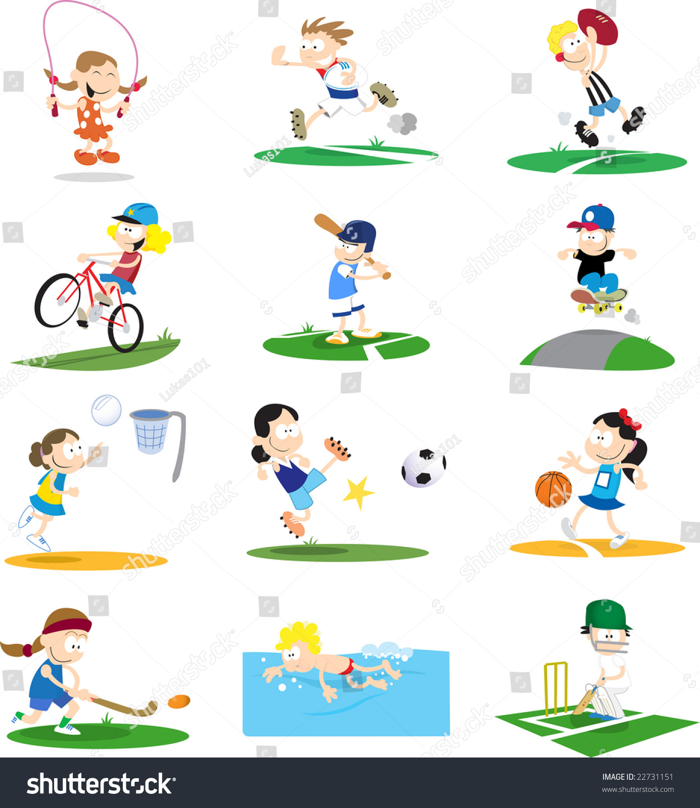 collection cartoonstyle vector illustrations kids playing stock