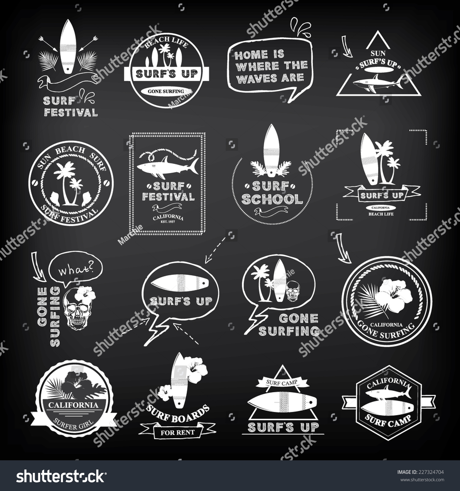 Surfing summer icons vector labels collection