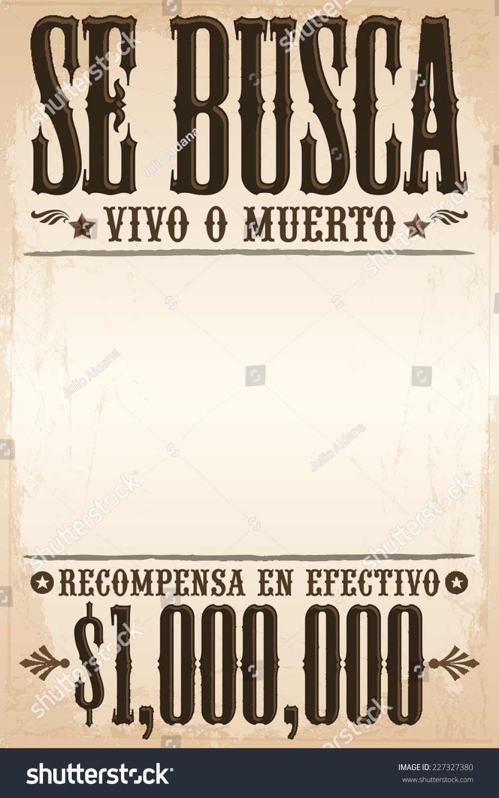 Se busca vivo o muerto wanted stock vector 227327380 for Wanted dead or alive poster template free