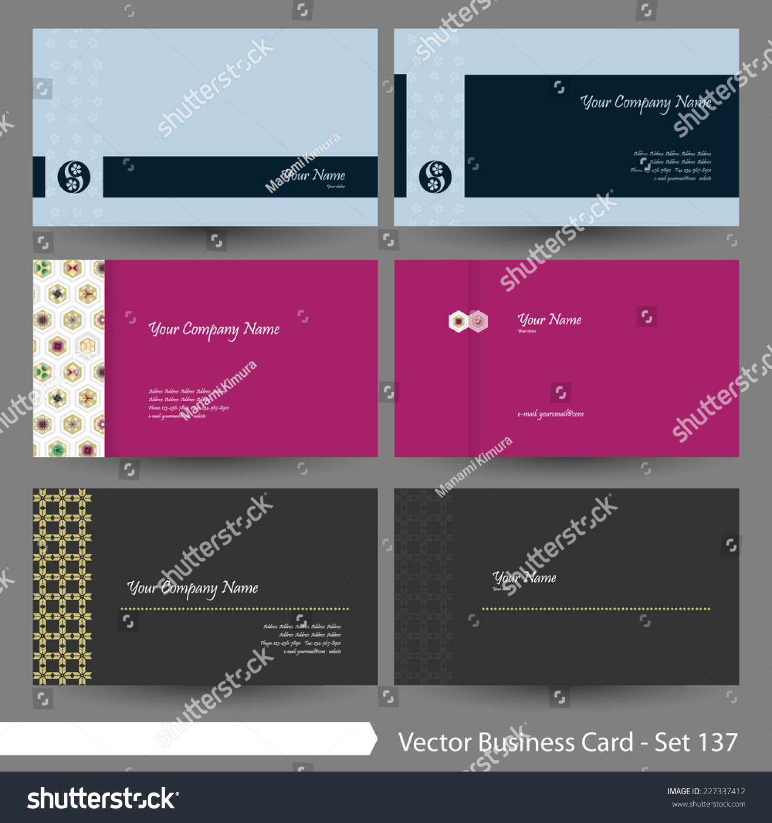 vector business card template set japanese stock vector 227337412