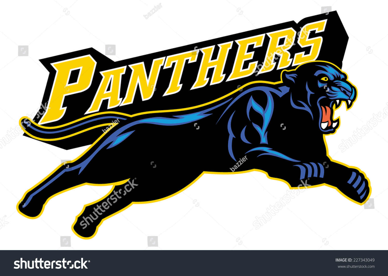 Jumping Black Panther Stock Vector Illustration 227343049 ...